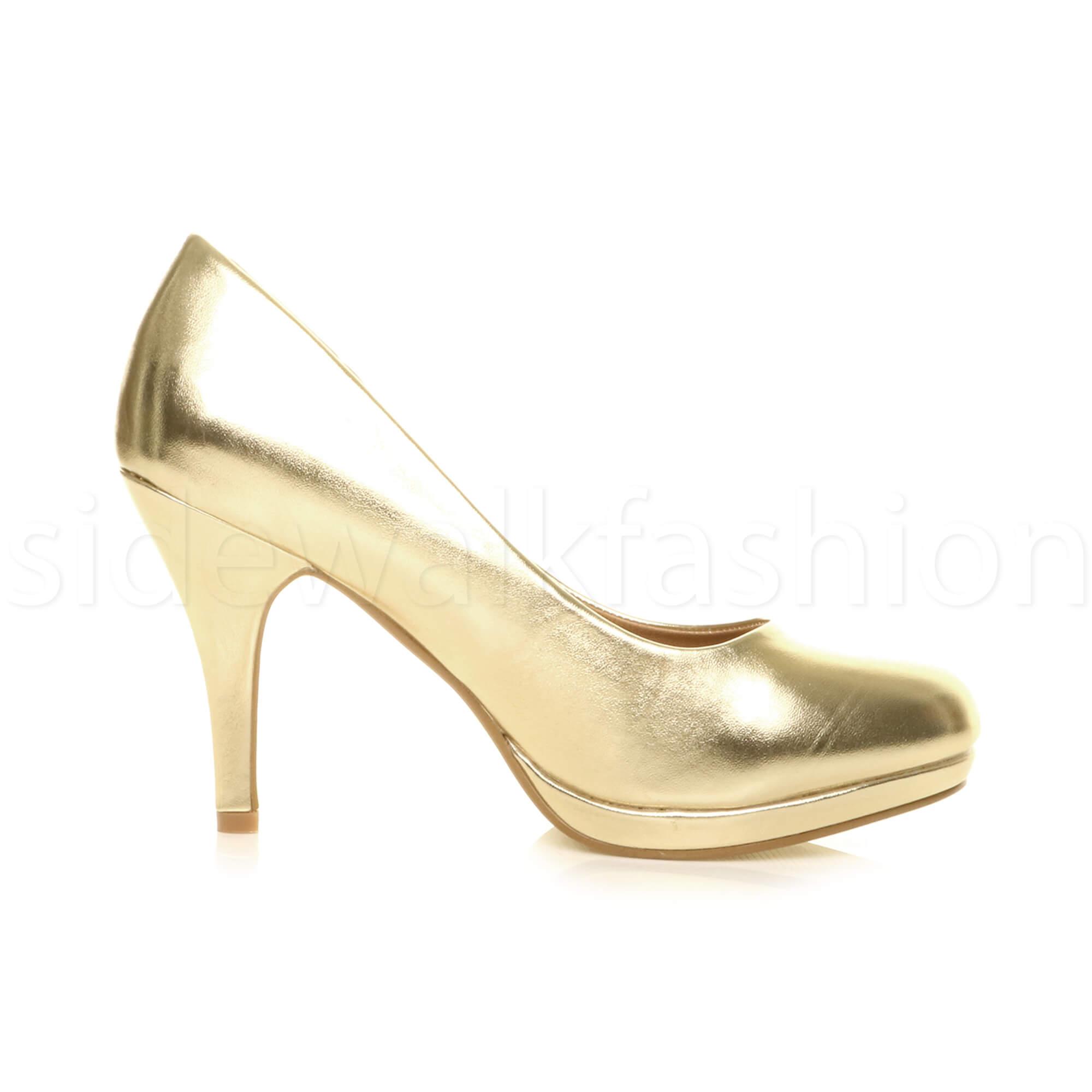 Womens-ladies-high-mid-heel-platform-wedding-evening-bridesmaid-court-shoes-size thumbnail 60