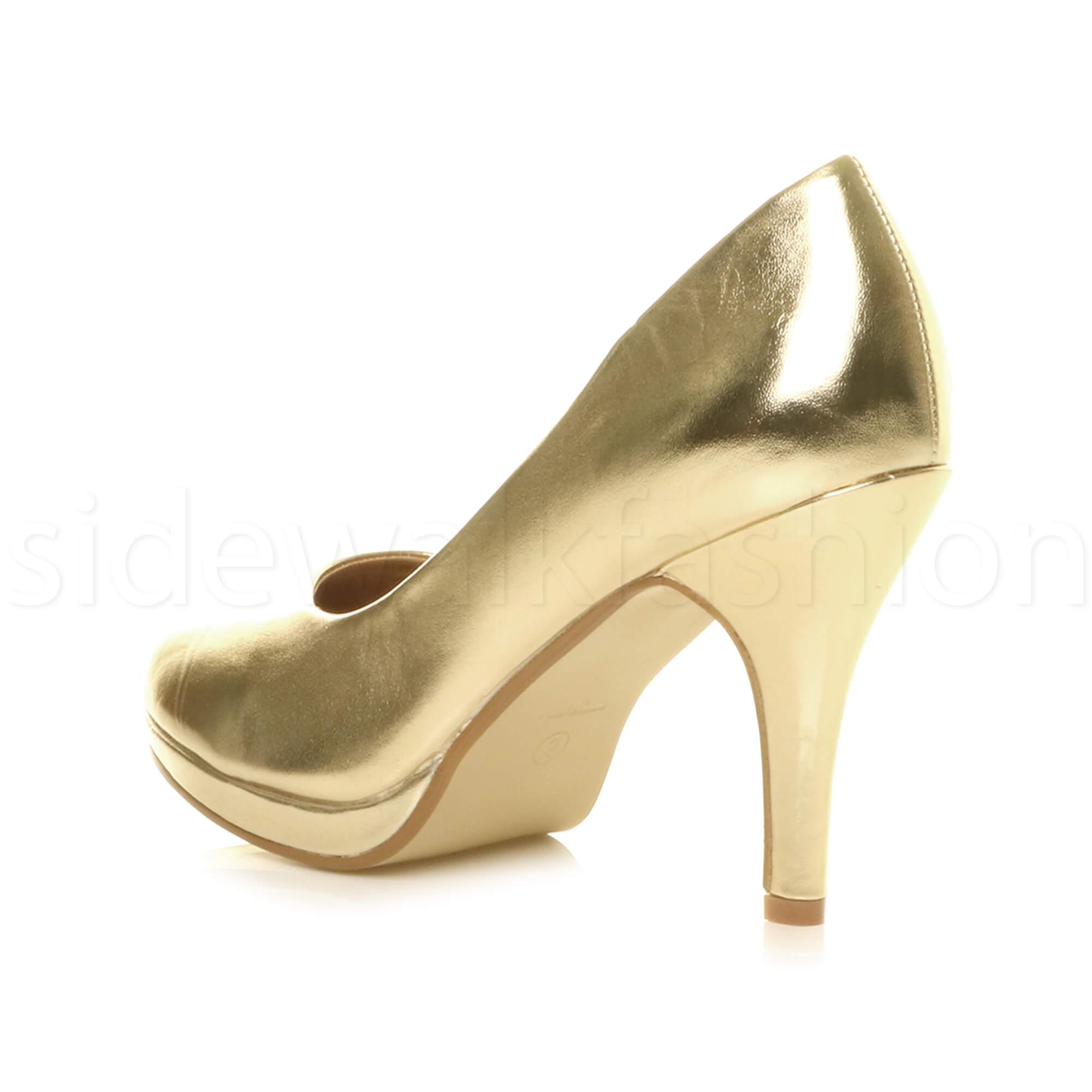 Womens-ladies-high-mid-heel-platform-wedding-evening-bridesmaid-court-shoes-size thumbnail 61