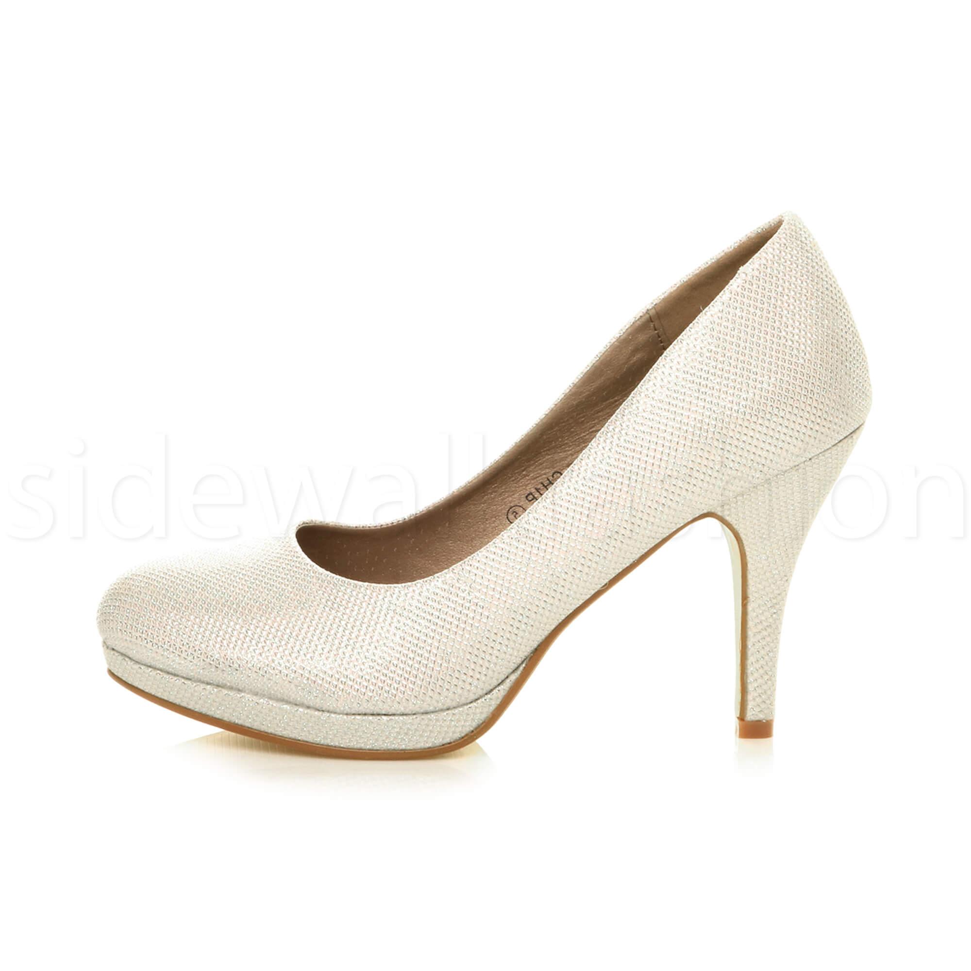 Womens-ladies-high-mid-heel-platform-wedding-evening-bridesmaid-court-shoes-size thumbnail 80