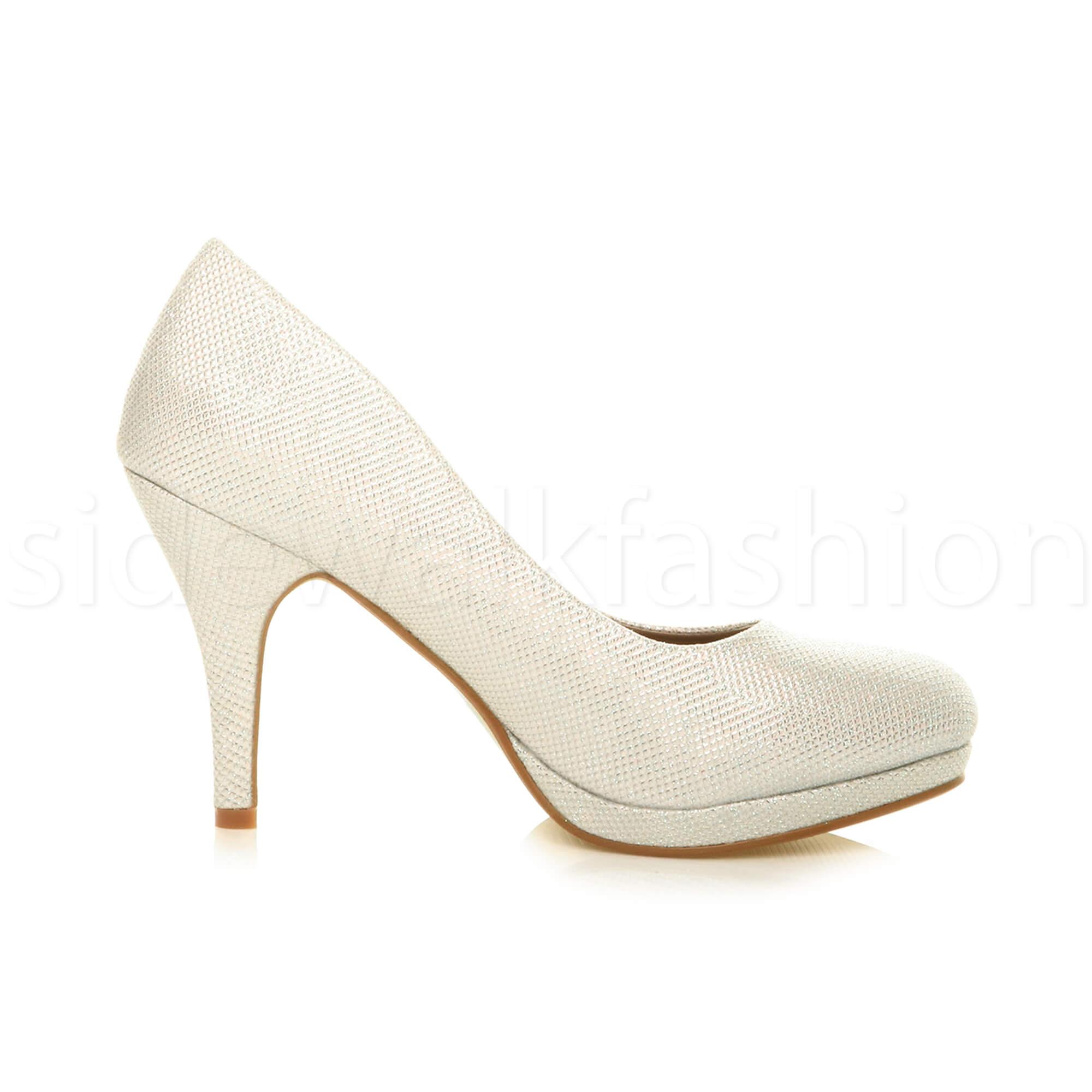 Womens-ladies-high-mid-heel-platform-wedding-evening-bridesmaid-court-shoes-size thumbnail 81