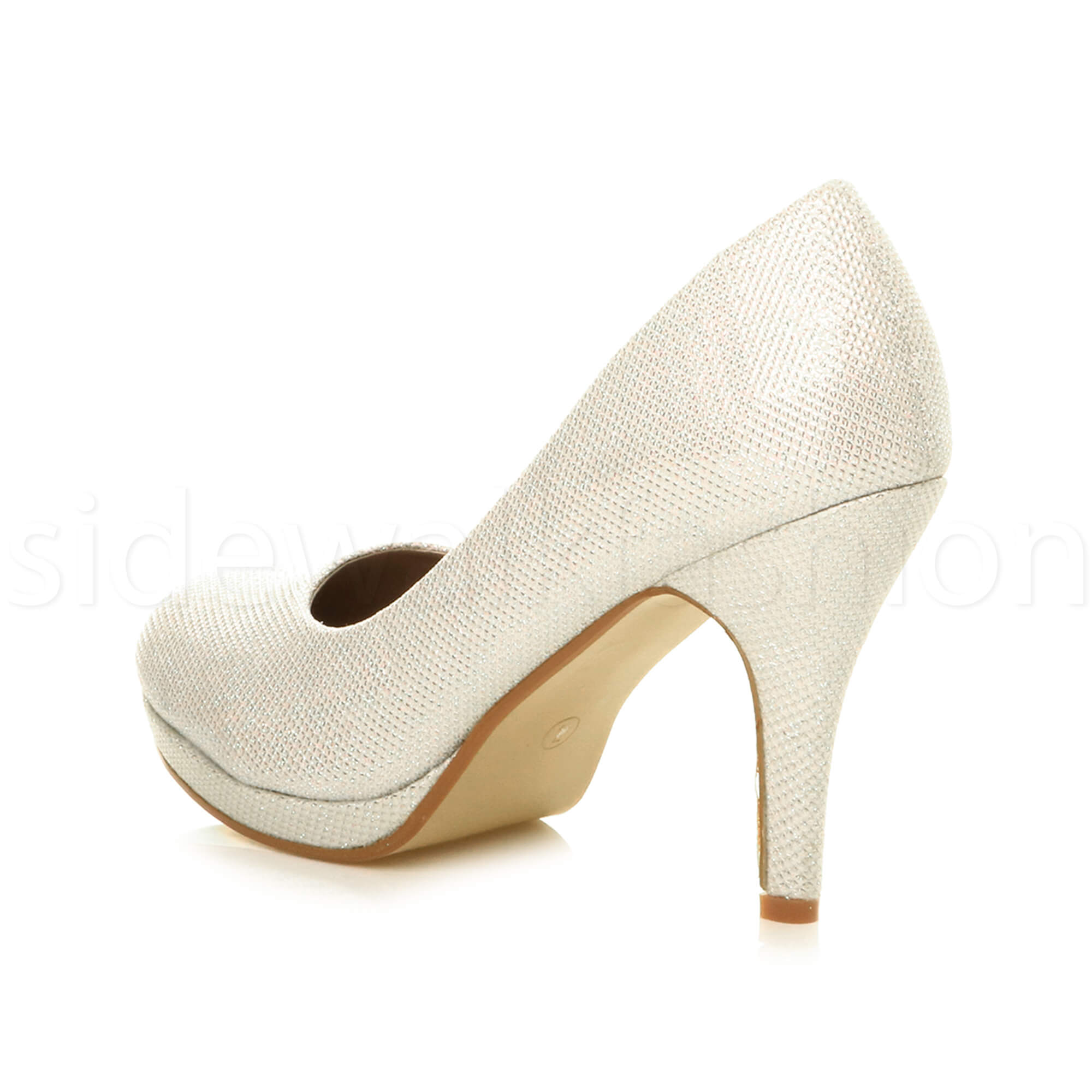 Womens-ladies-high-mid-heel-platform-wedding-evening-bridesmaid-court-shoes-size thumbnail 82