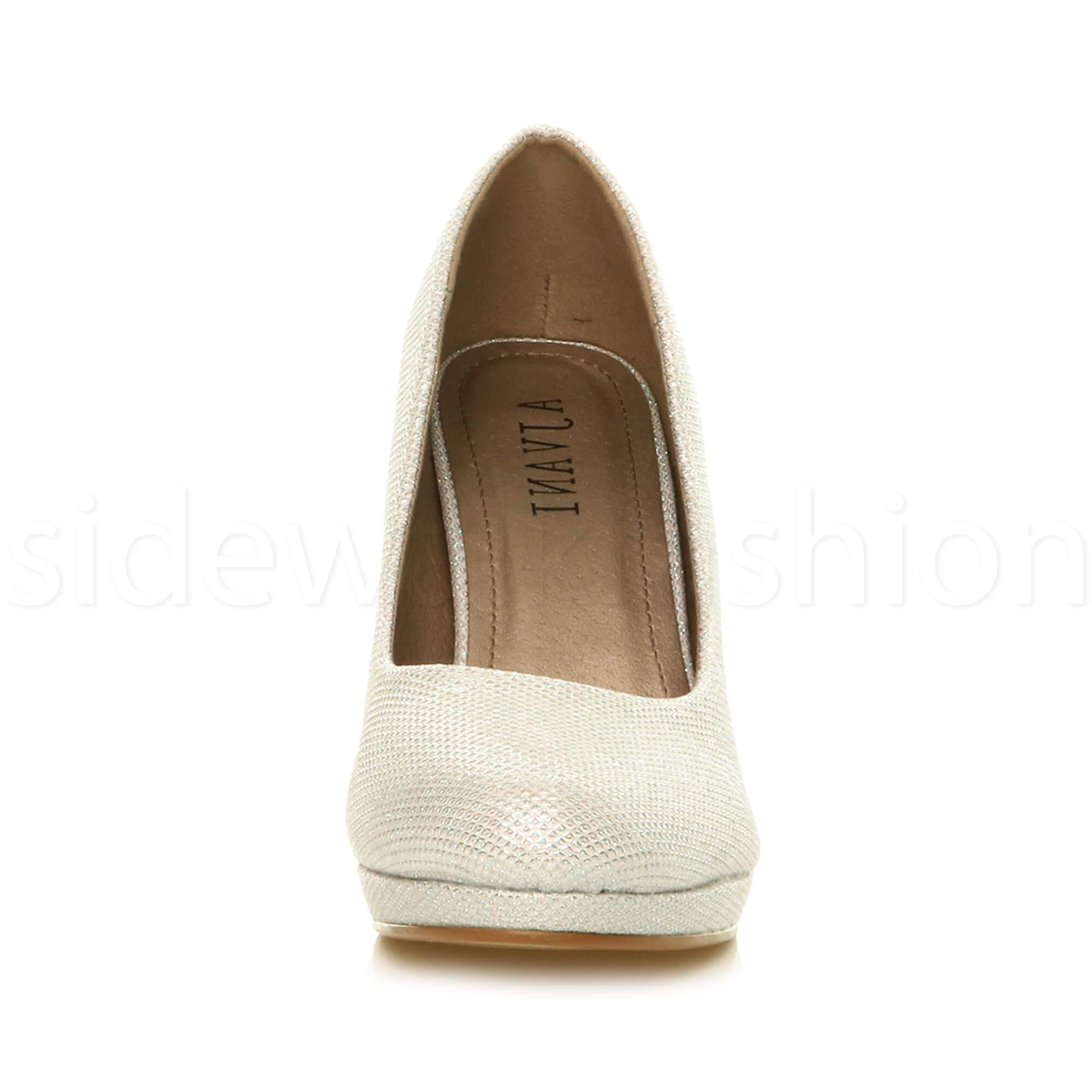 Womens-ladies-high-mid-heel-platform-wedding-evening-bridesmaid-court-shoes-size thumbnail 83