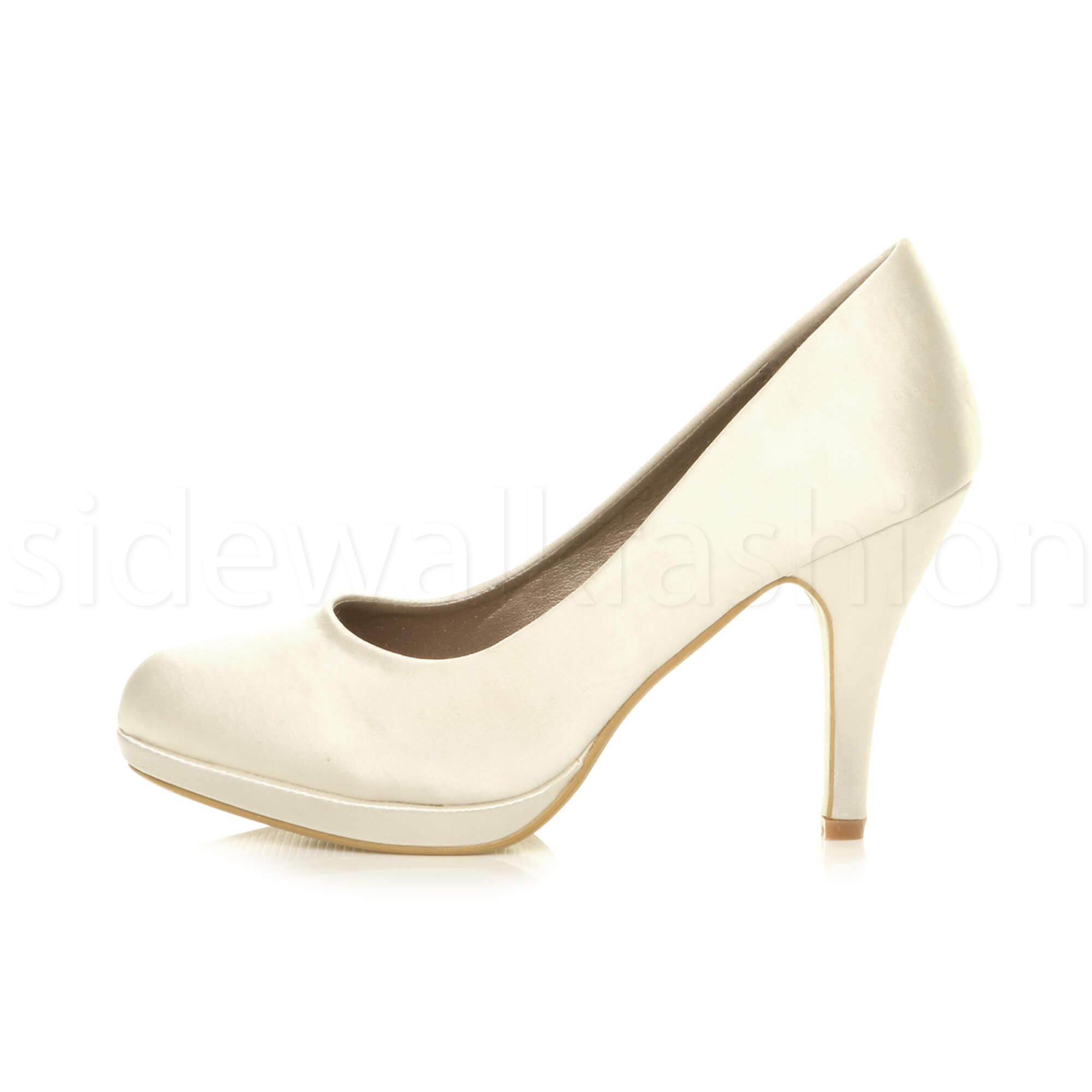 Womens-ladies-high-mid-heel-platform-wedding-evening-bridesmaid-court-shoes-size thumbnail 94