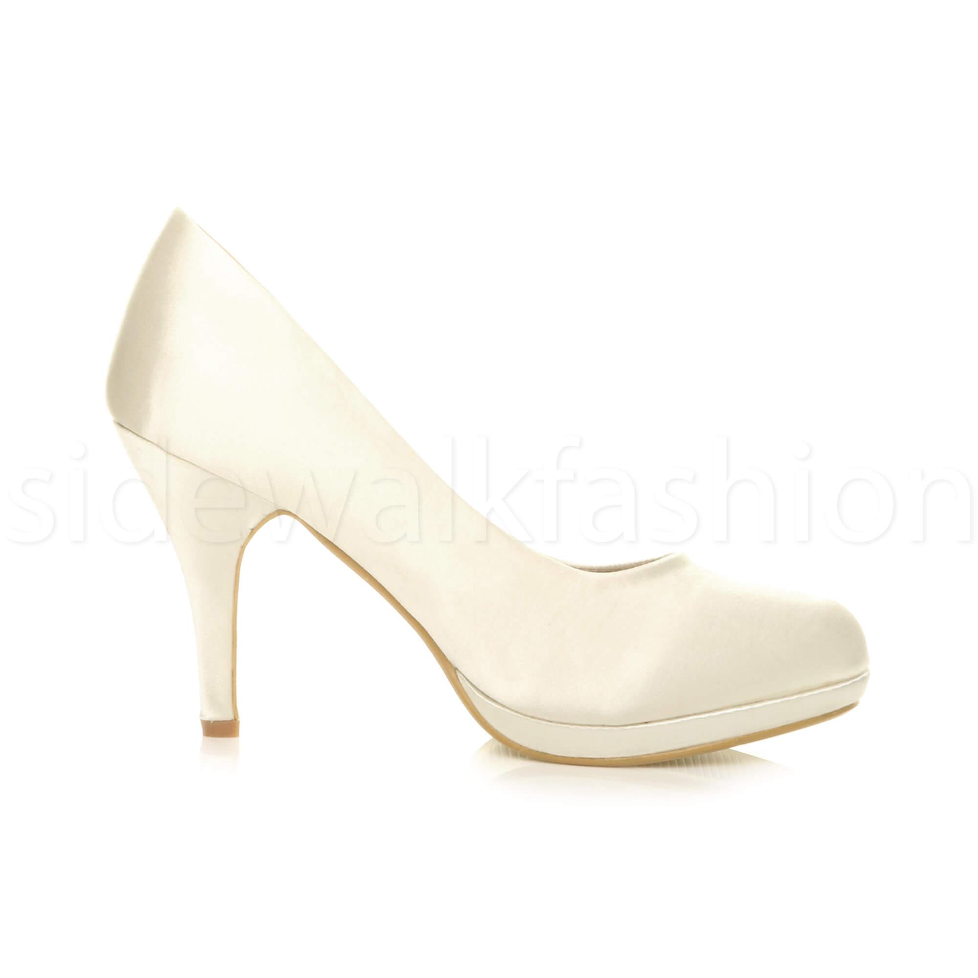 Womens-ladies-high-mid-heel-platform-wedding-evening-bridesmaid-court-shoes-size thumbnail 95