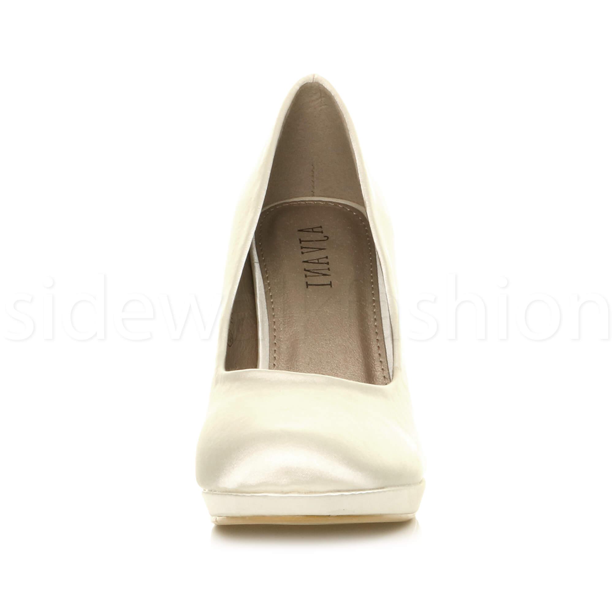 Womens-ladies-high-mid-heel-platform-wedding-evening-bridesmaid-court-shoes-size thumbnail 97