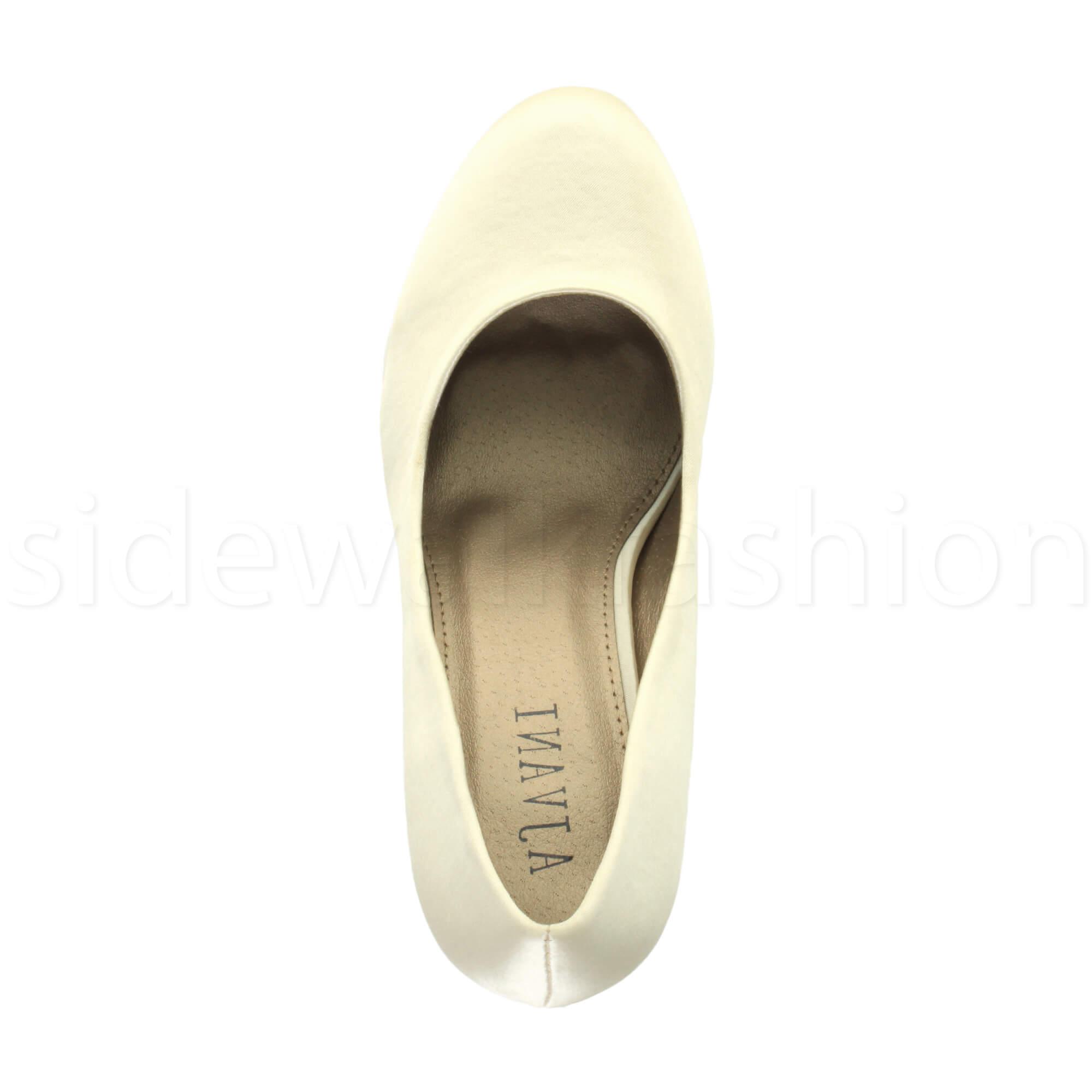 Womens-ladies-high-mid-heel-platform-wedding-evening-bridesmaid-court-shoes-size thumbnail 98