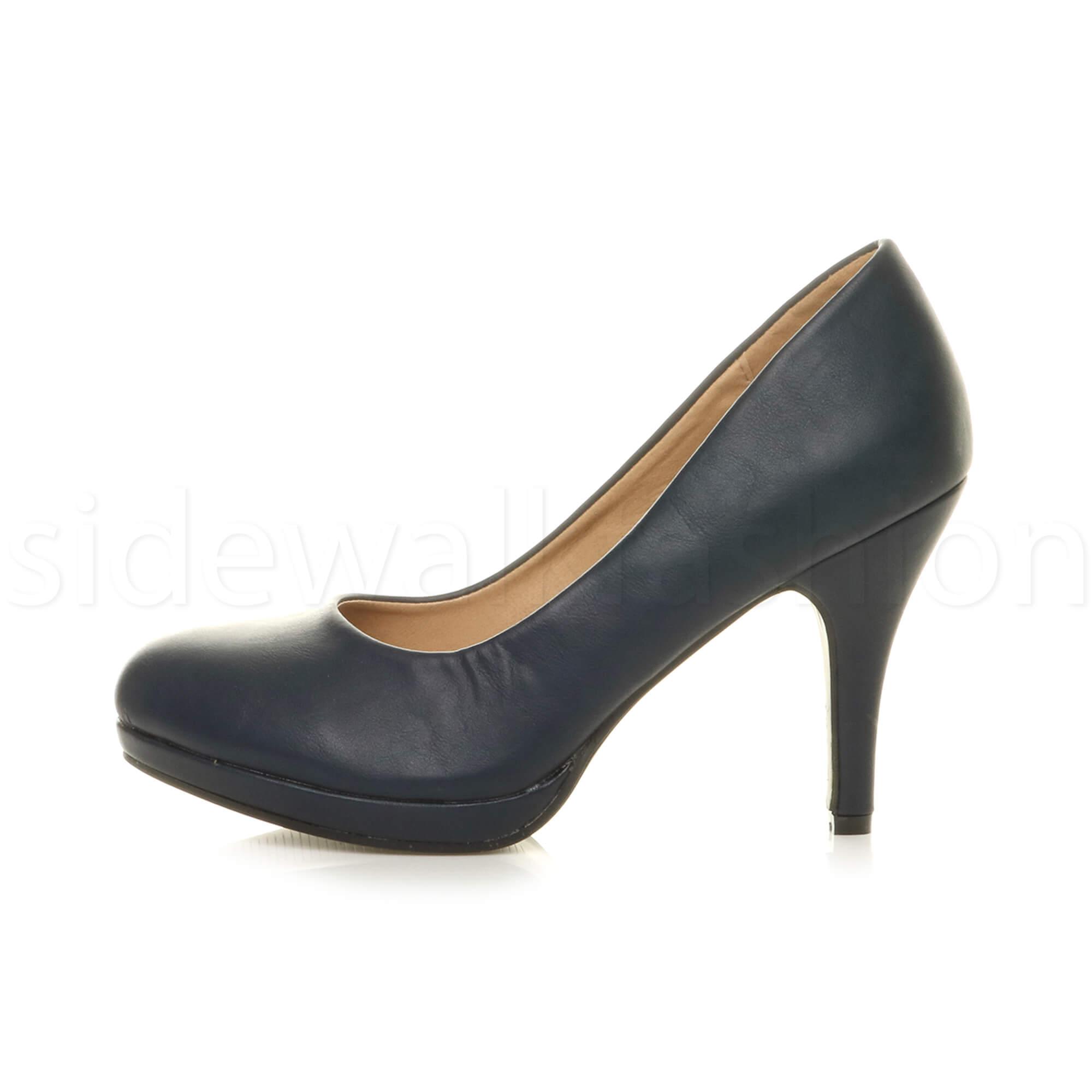 Womens-ladies-high-mid-heel-platform-wedding-evening-bridesmaid-court-shoes-size thumbnail 101
