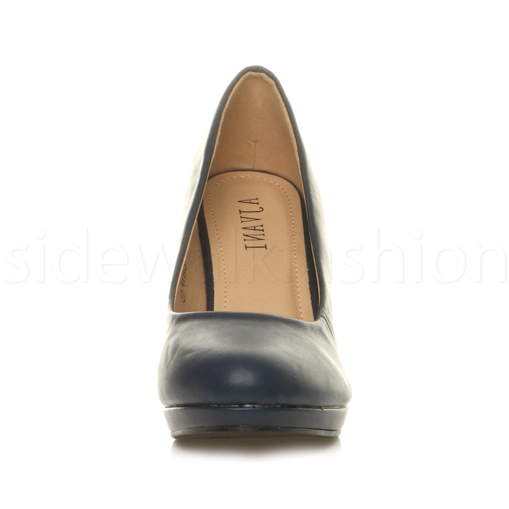 Womens-ladies-high-mid-heel-platform-wedding-evening-bridesmaid-court-shoes-size thumbnail 104
