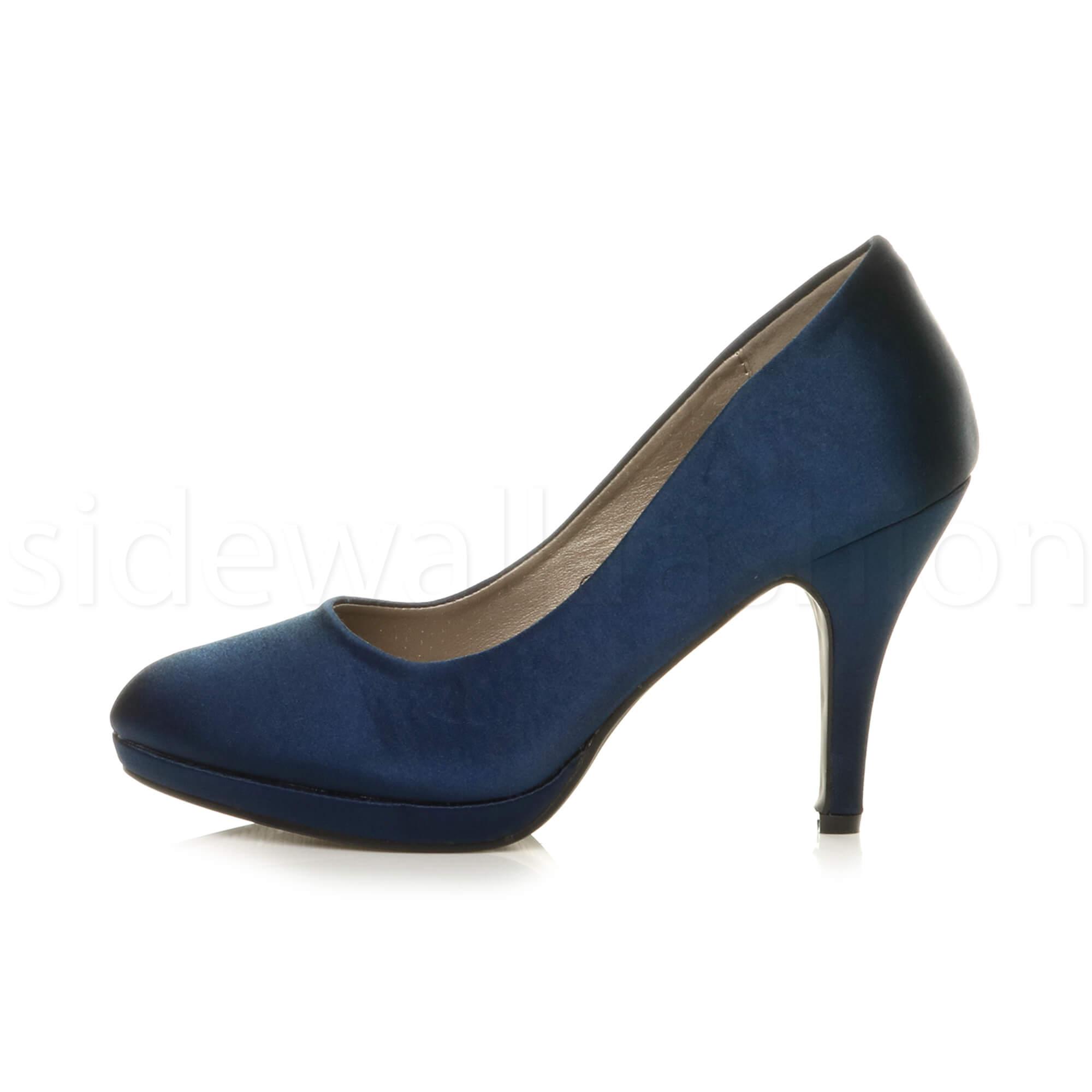 Womens-ladies-high-mid-heel-platform-wedding-evening-bridesmaid-court-shoes-size thumbnail 115