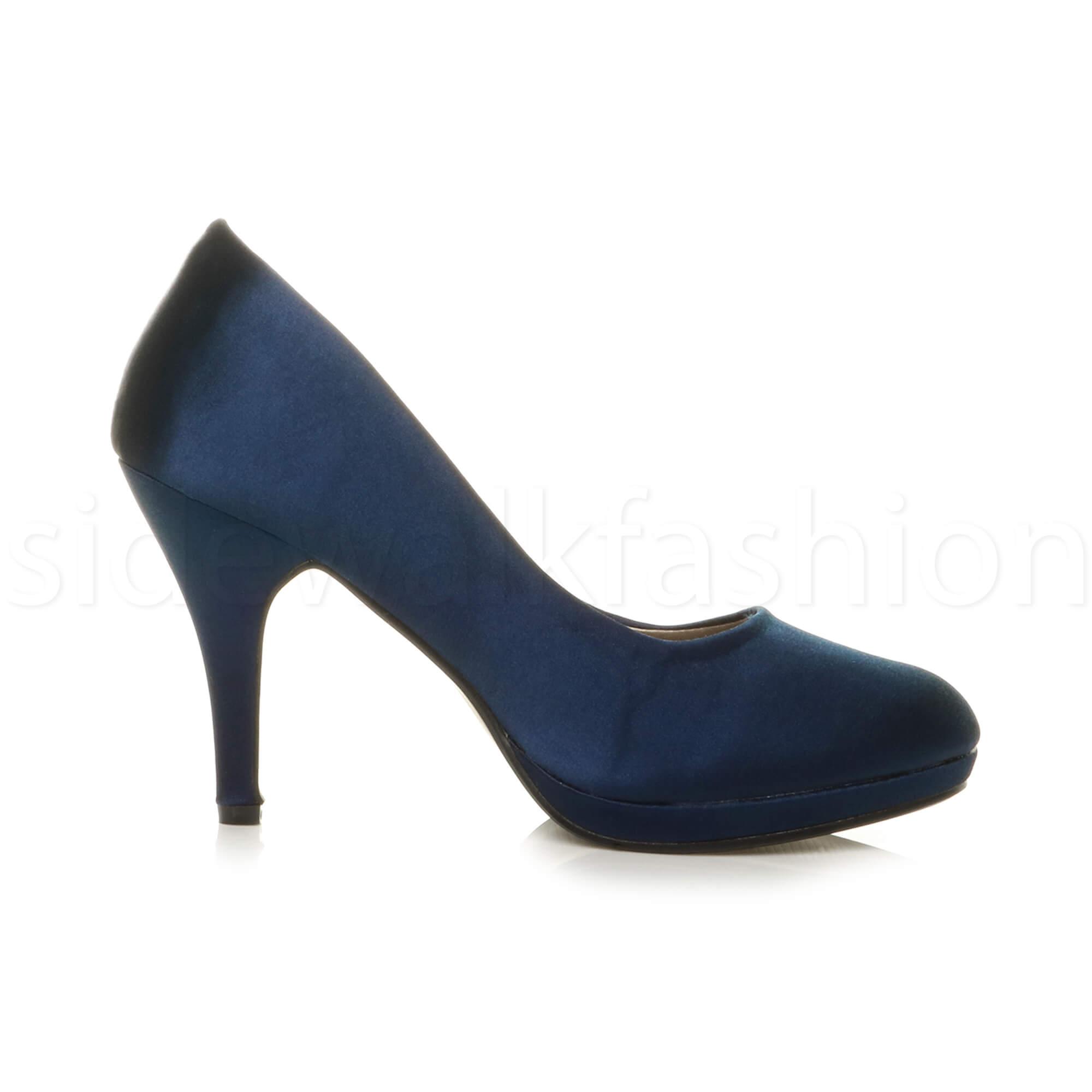 Womens-ladies-high-mid-heel-platform-wedding-evening-bridesmaid-court-shoes-size thumbnail 116