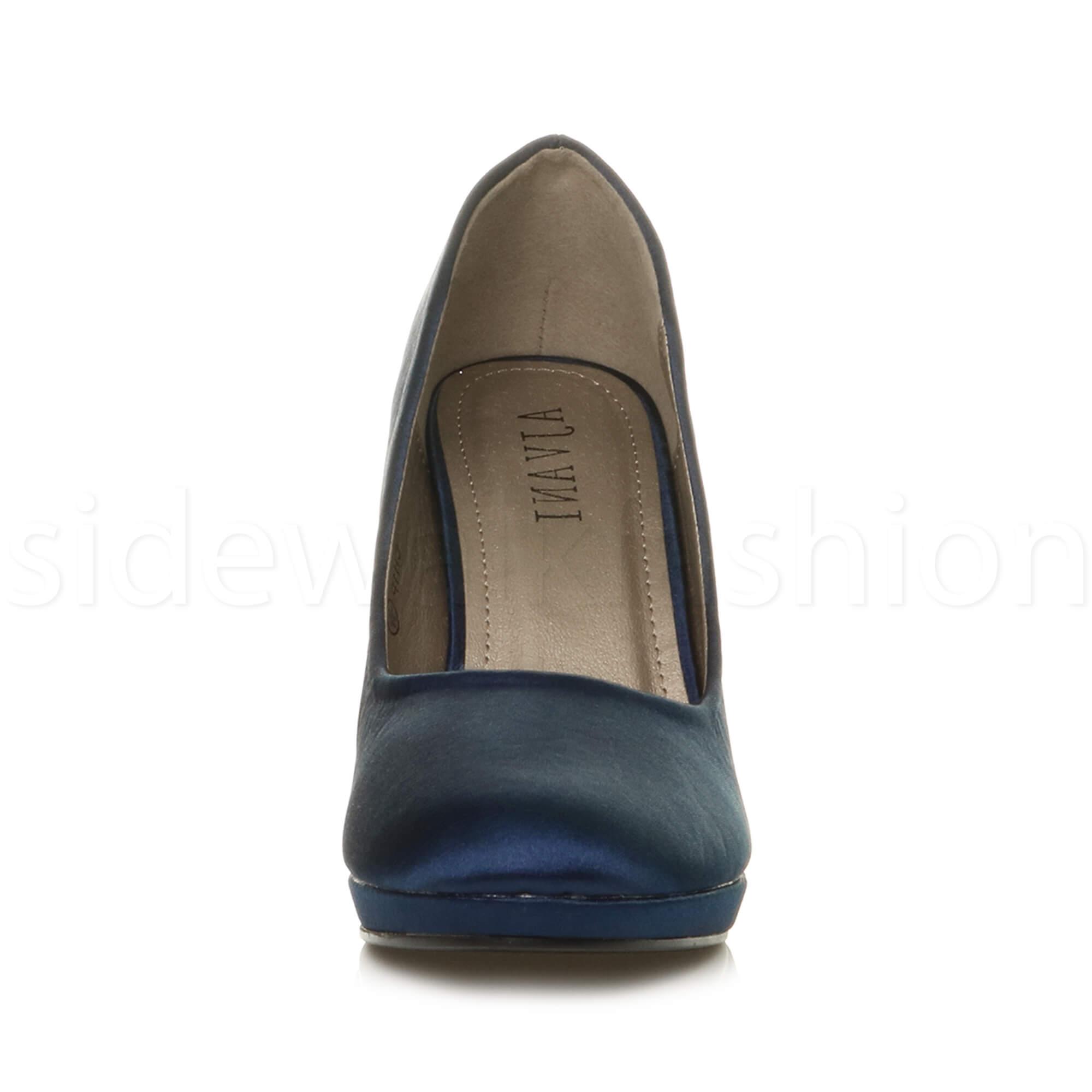 Womens-ladies-high-mid-heel-platform-wedding-evening-bridesmaid-court-shoes-size thumbnail 118