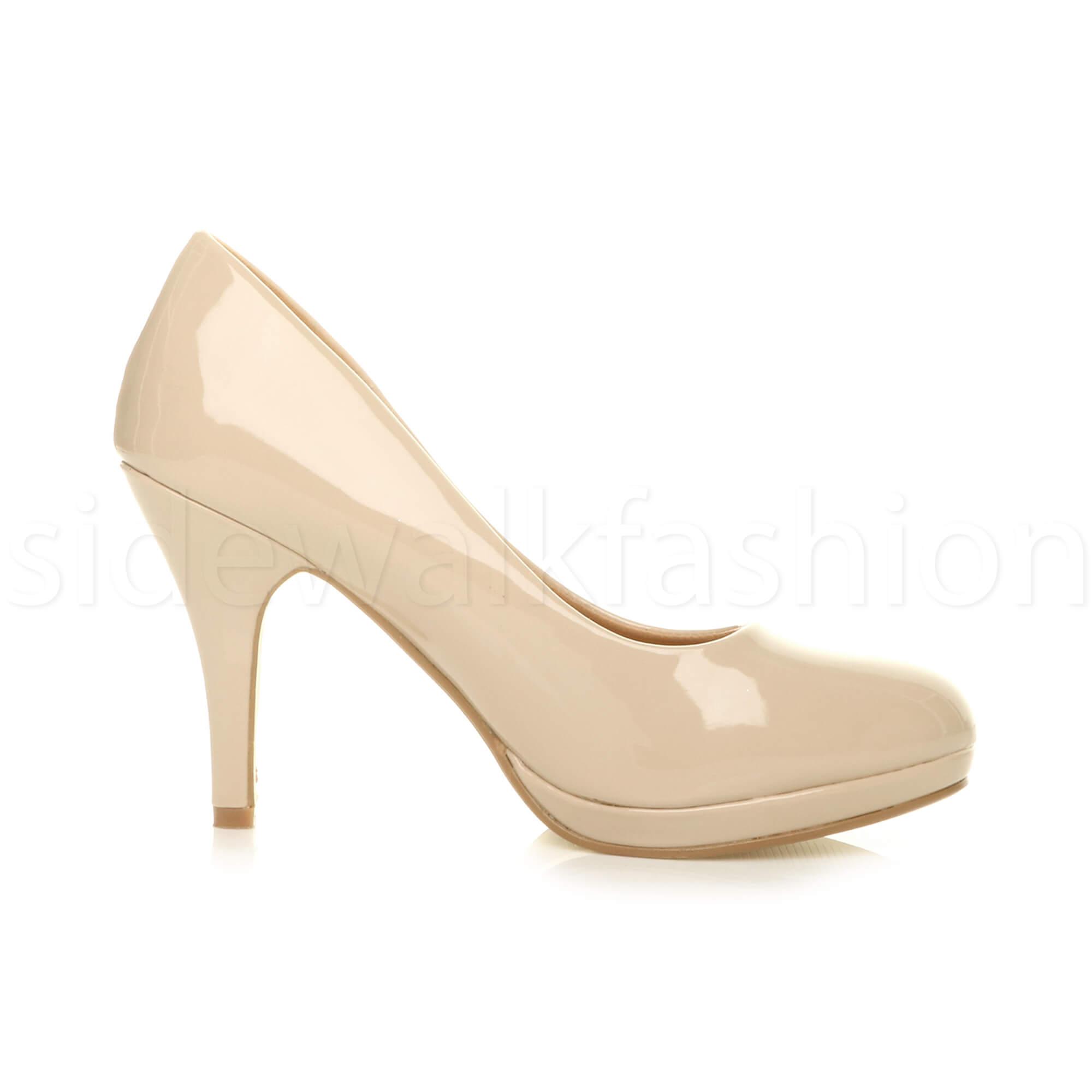 Womens-ladies-high-mid-heel-platform-wedding-evening-bridesmaid-court-shoes-size thumbnail 123