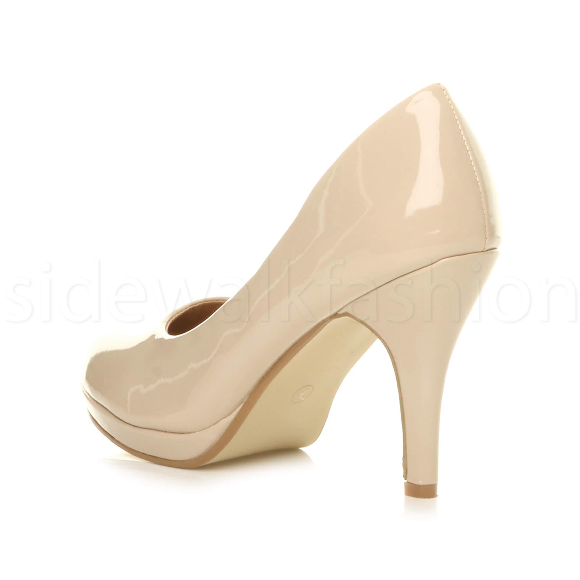 Womens-ladies-high-mid-heel-platform-wedding-evening-bridesmaid-court-shoes-size thumbnail 124