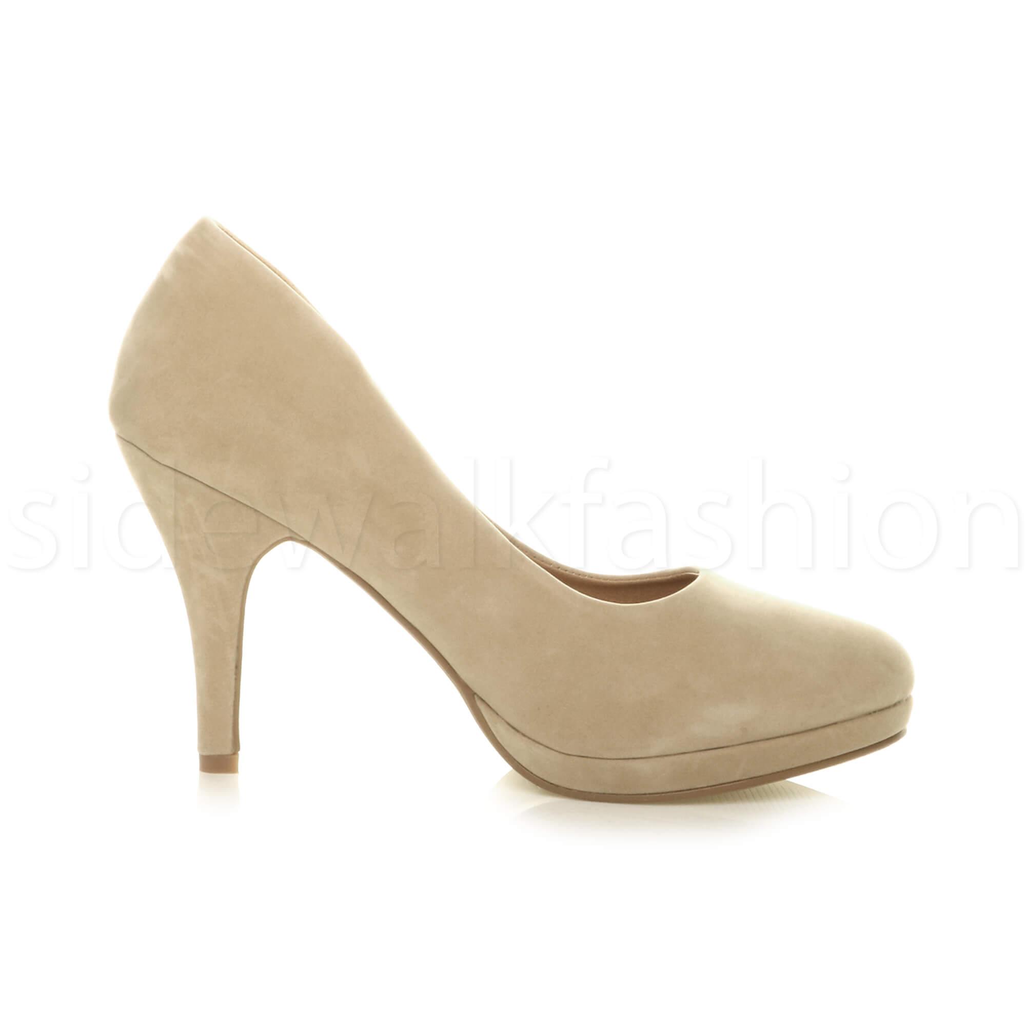 Womens-ladies-high-mid-heel-platform-wedding-evening-bridesmaid-court-shoes-size thumbnail 130