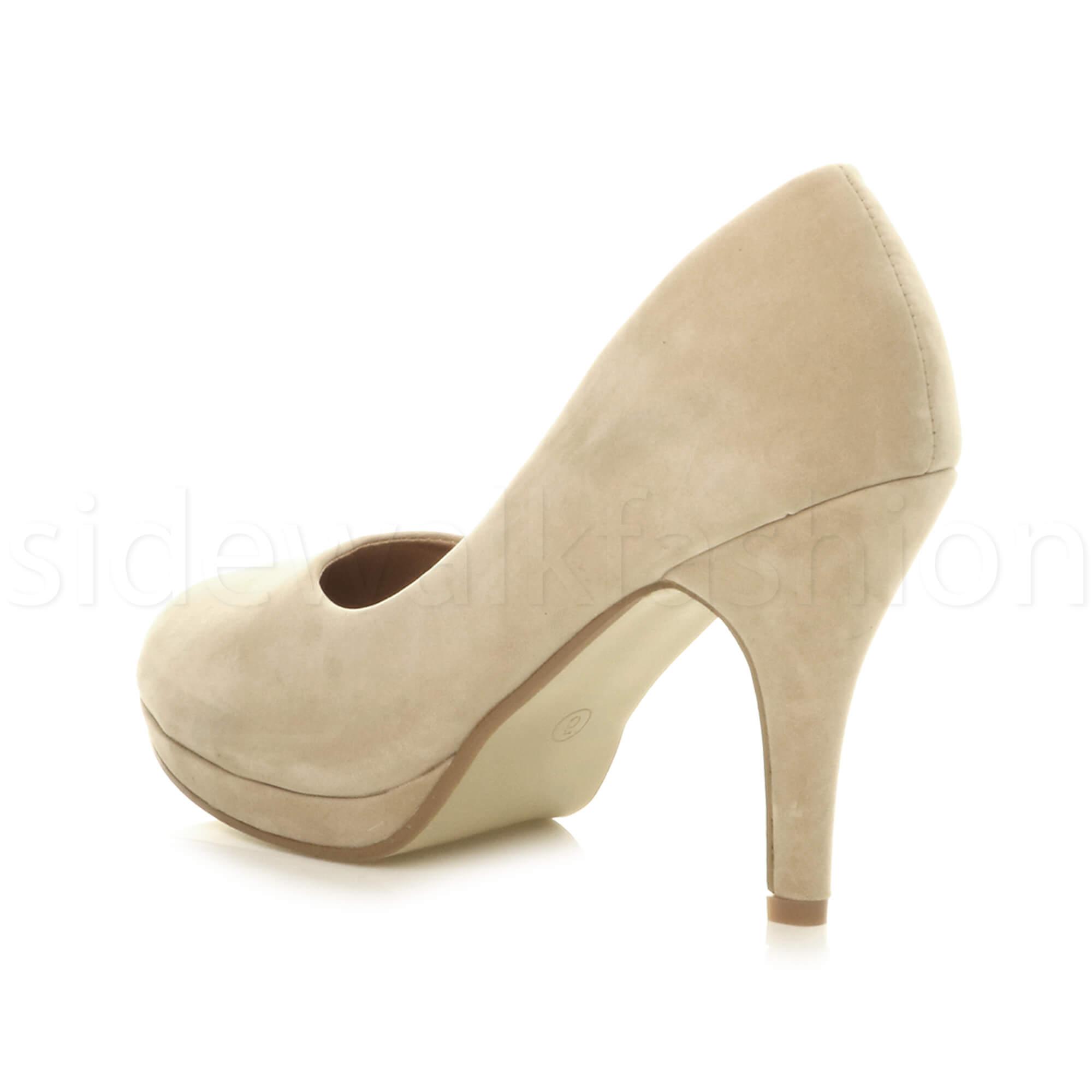 Womens-ladies-high-mid-heel-platform-wedding-evening-bridesmaid-court-shoes-size thumbnail 131