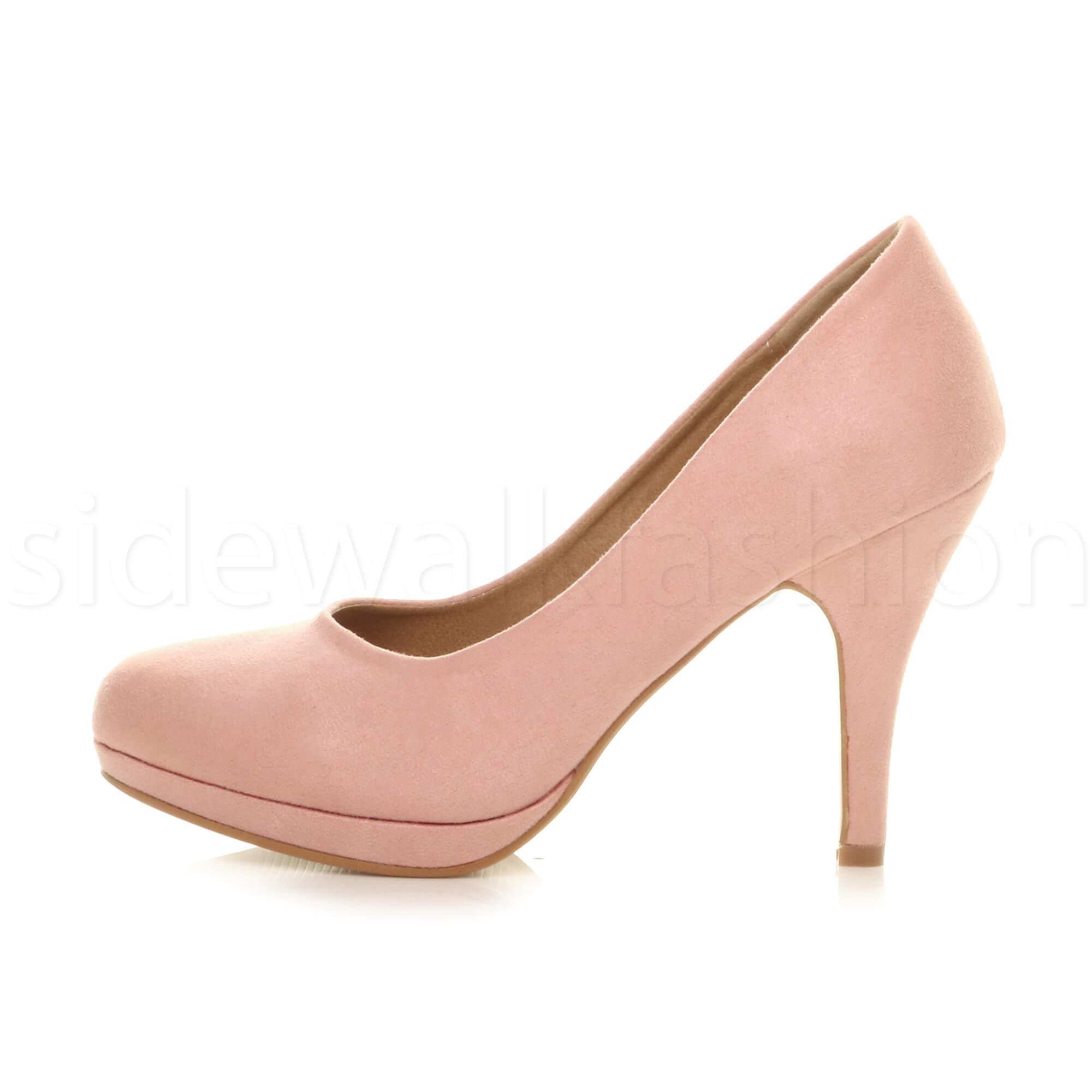 Womens-ladies-high-mid-heel-platform-wedding-evening-bridesmaid-court-shoes-size thumbnail 3