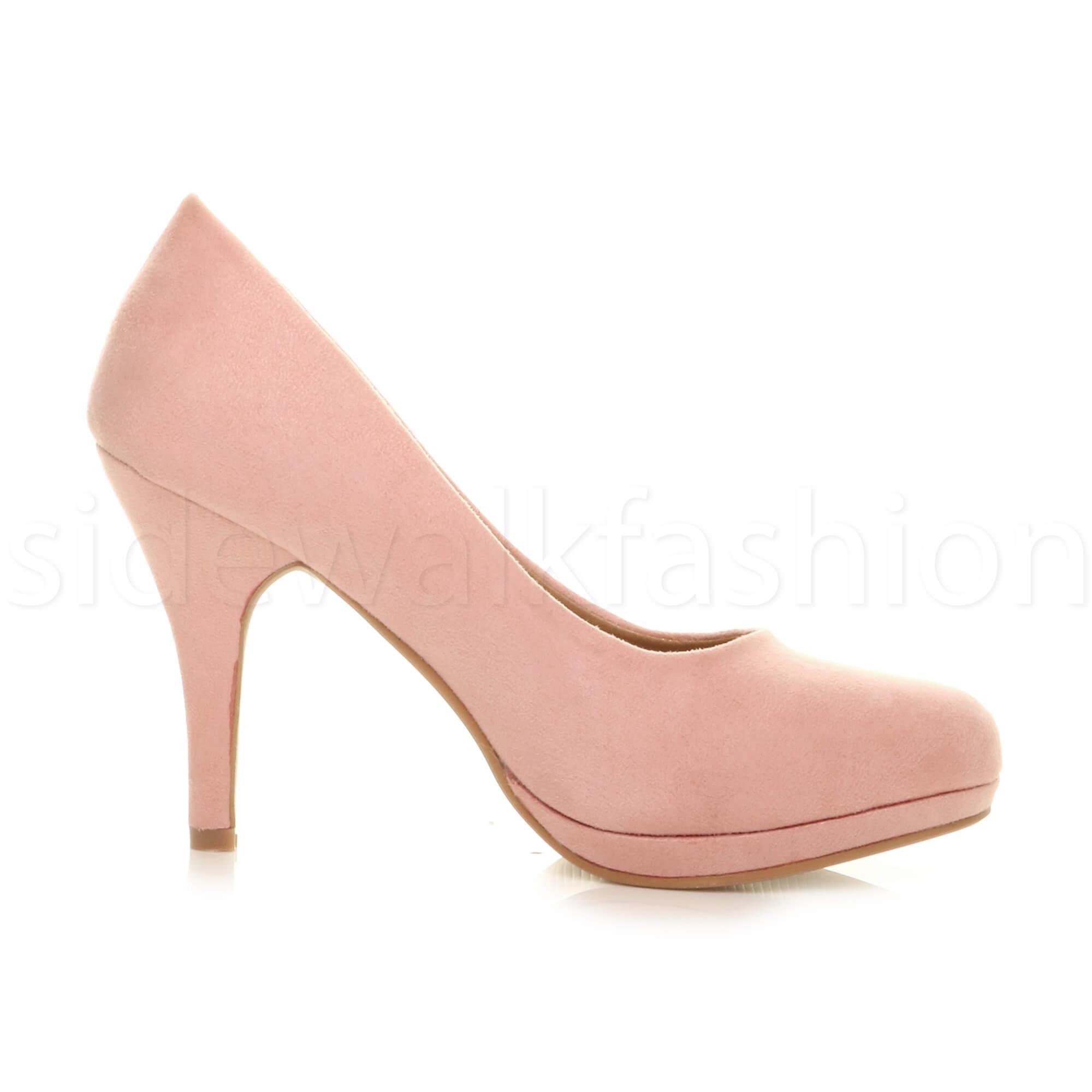 Womens-ladies-high-mid-heel-platform-wedding-evening-bridesmaid-court-shoes-size thumbnail 4
