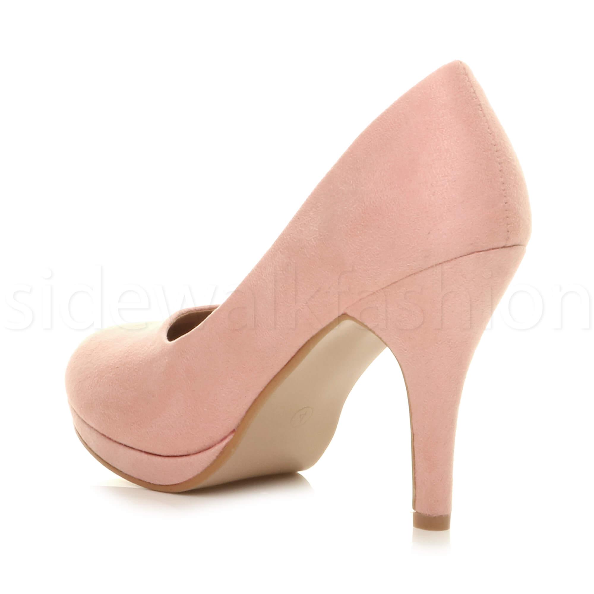 Womens-ladies-high-mid-heel-platform-wedding-evening-bridesmaid-court-shoes-size thumbnail 5