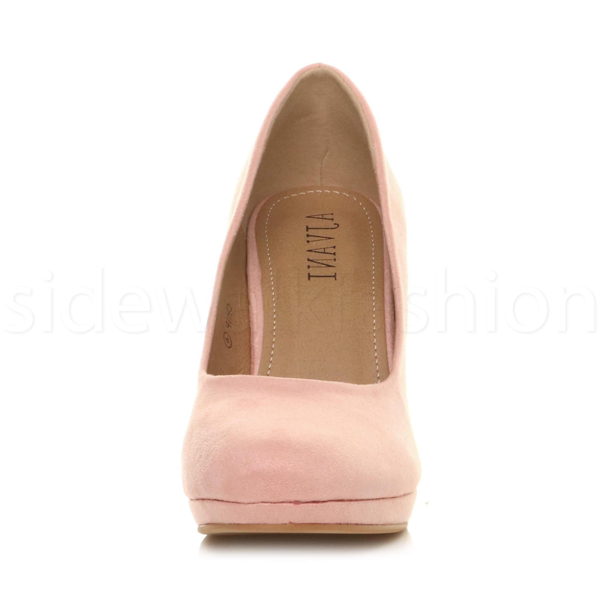 Womens-ladies-high-mid-heel-platform-wedding-evening-bridesmaid-court-shoes-size thumbnail 6