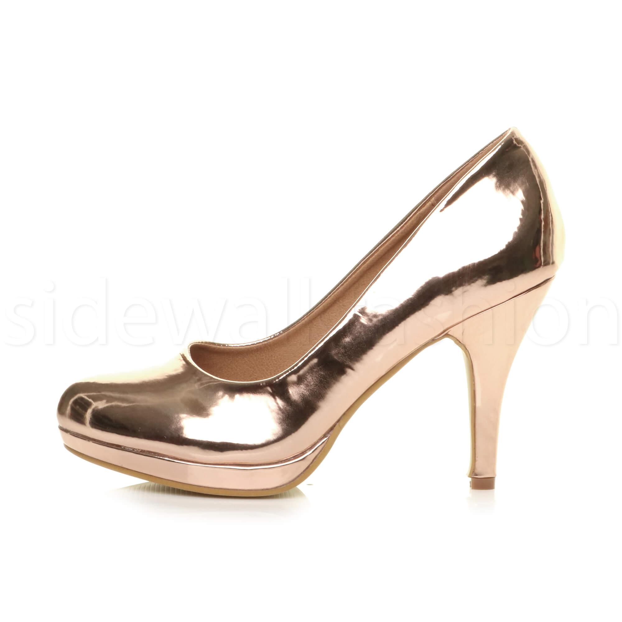 Womens-ladies-high-mid-heel-platform-wedding-evening-bridesmaid-court-shoes-size thumbnail 157