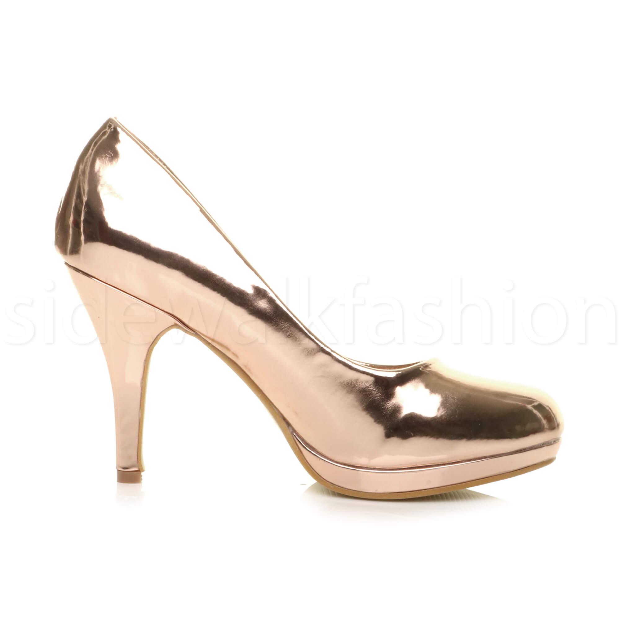 Womens-ladies-high-mid-heel-platform-wedding-evening-bridesmaid-court-shoes-size thumbnail 158