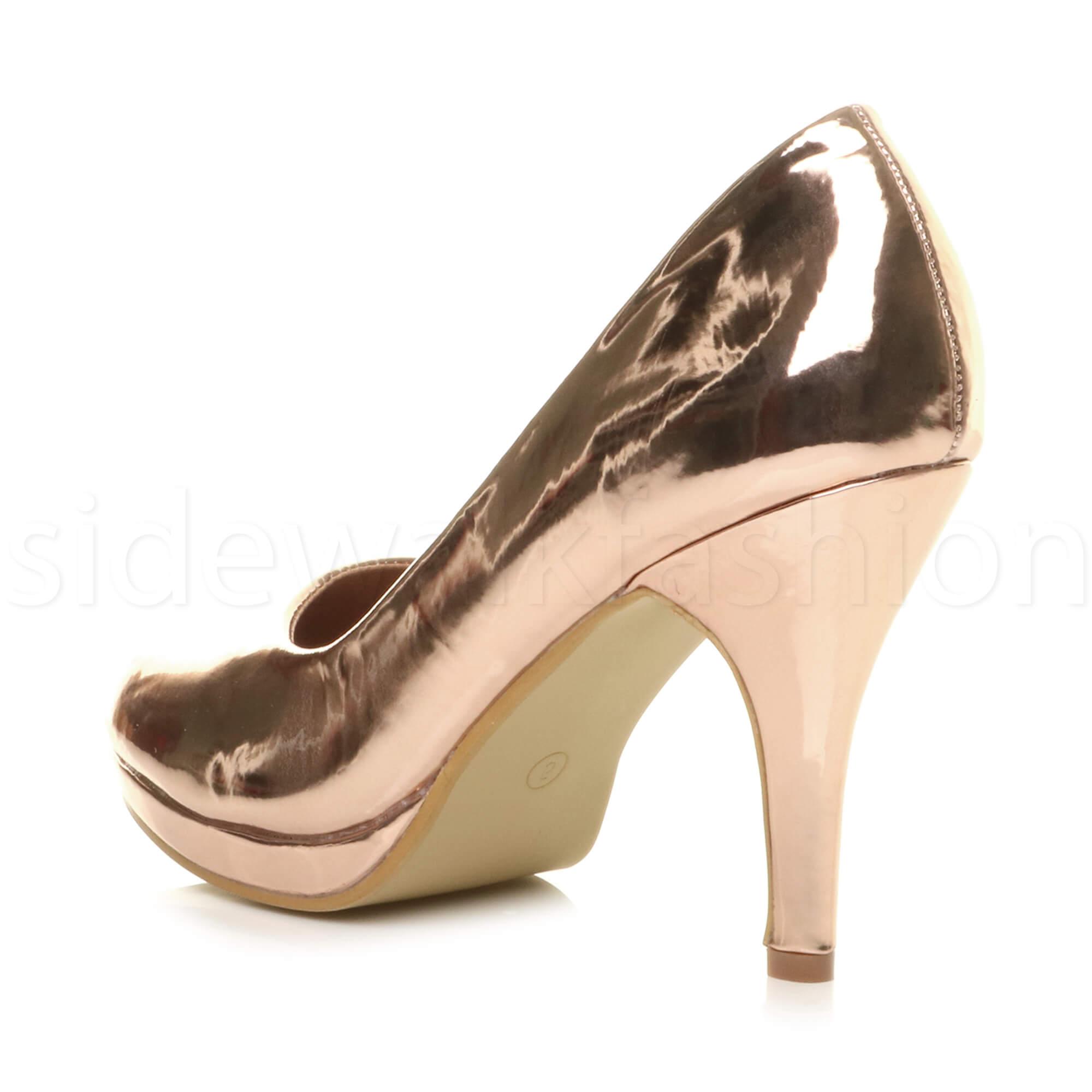Womens-ladies-high-mid-heel-platform-wedding-evening-bridesmaid-court-shoes-size thumbnail 159