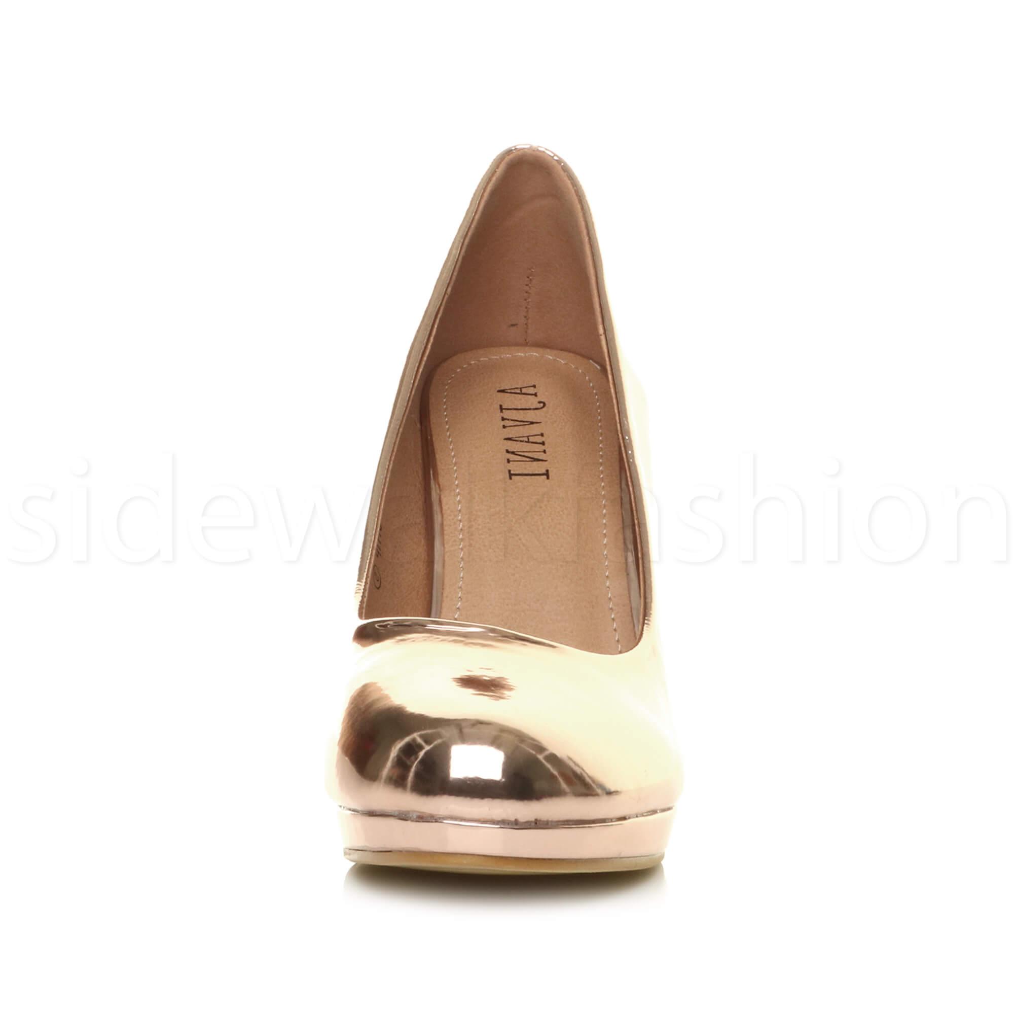 Womens-ladies-high-mid-heel-platform-wedding-evening-bridesmaid-court-shoes-size thumbnail 160