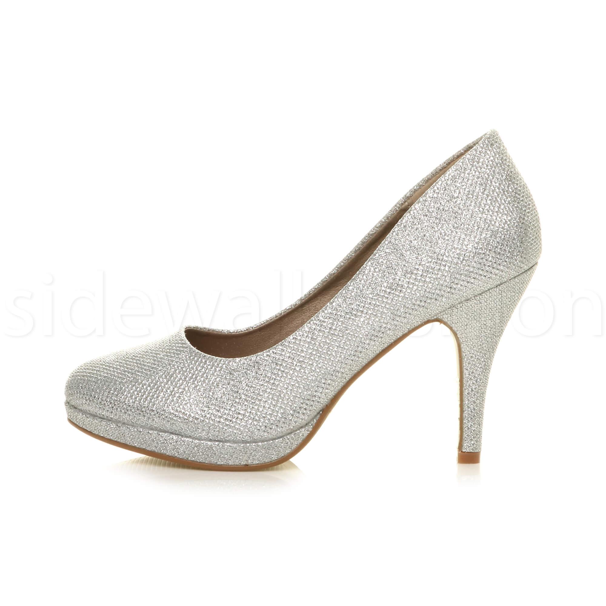 Womens-ladies-high-mid-heel-platform-wedding-evening-bridesmaid-court-shoes-size thumbnail 171