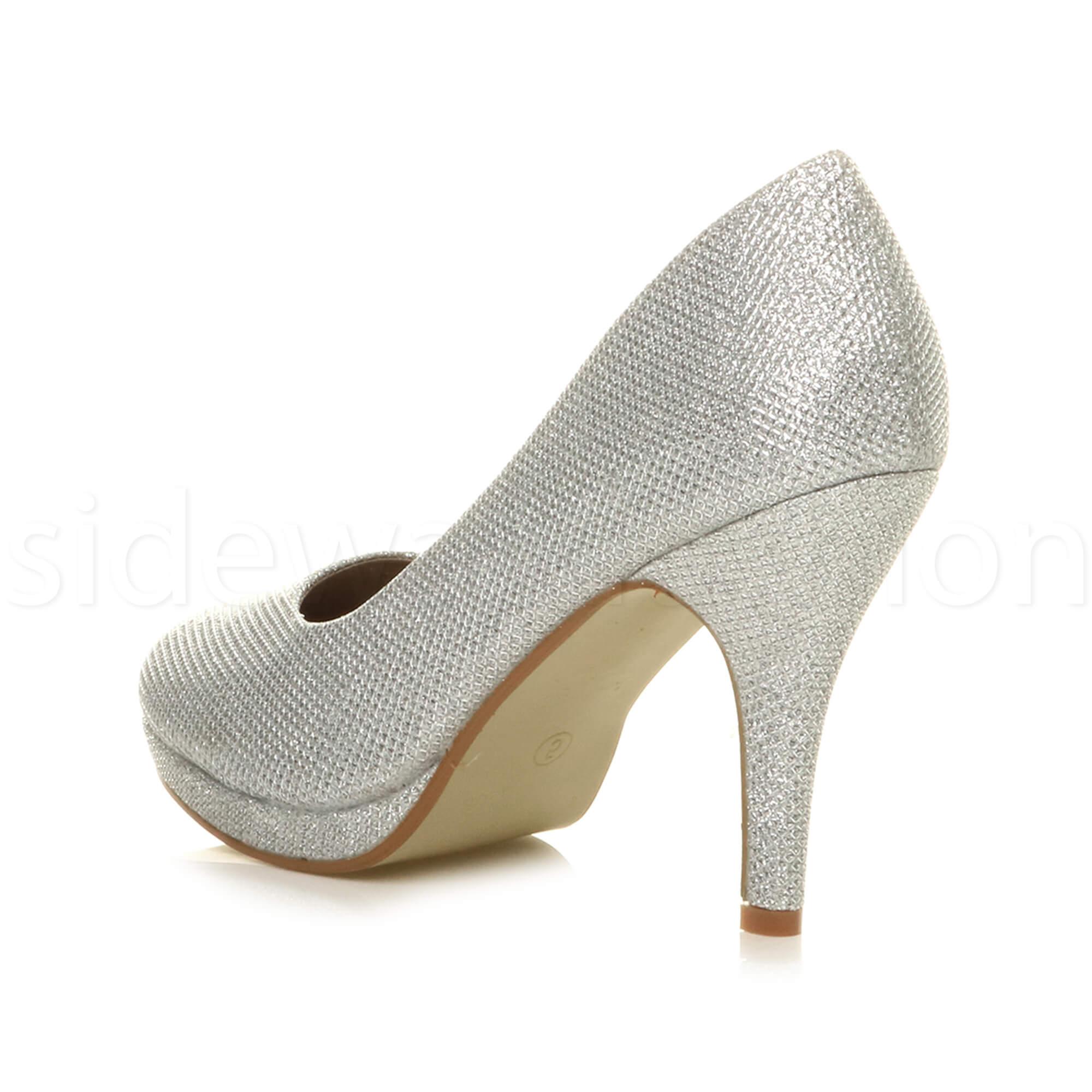 Womens-ladies-high-mid-heel-platform-wedding-evening-bridesmaid-court-shoes-size thumbnail 173