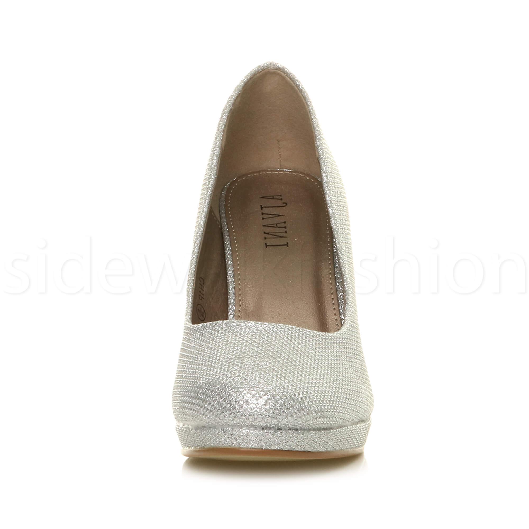 Womens-ladies-high-mid-heel-platform-wedding-evening-bridesmaid-court-shoes-size thumbnail 174
