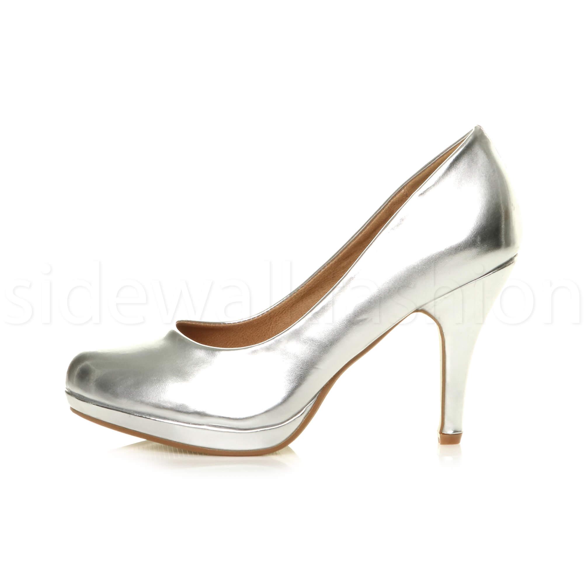 Womens-ladies-high-mid-heel-platform-wedding-evening-bridesmaid-court-shoes-size thumbnail 164