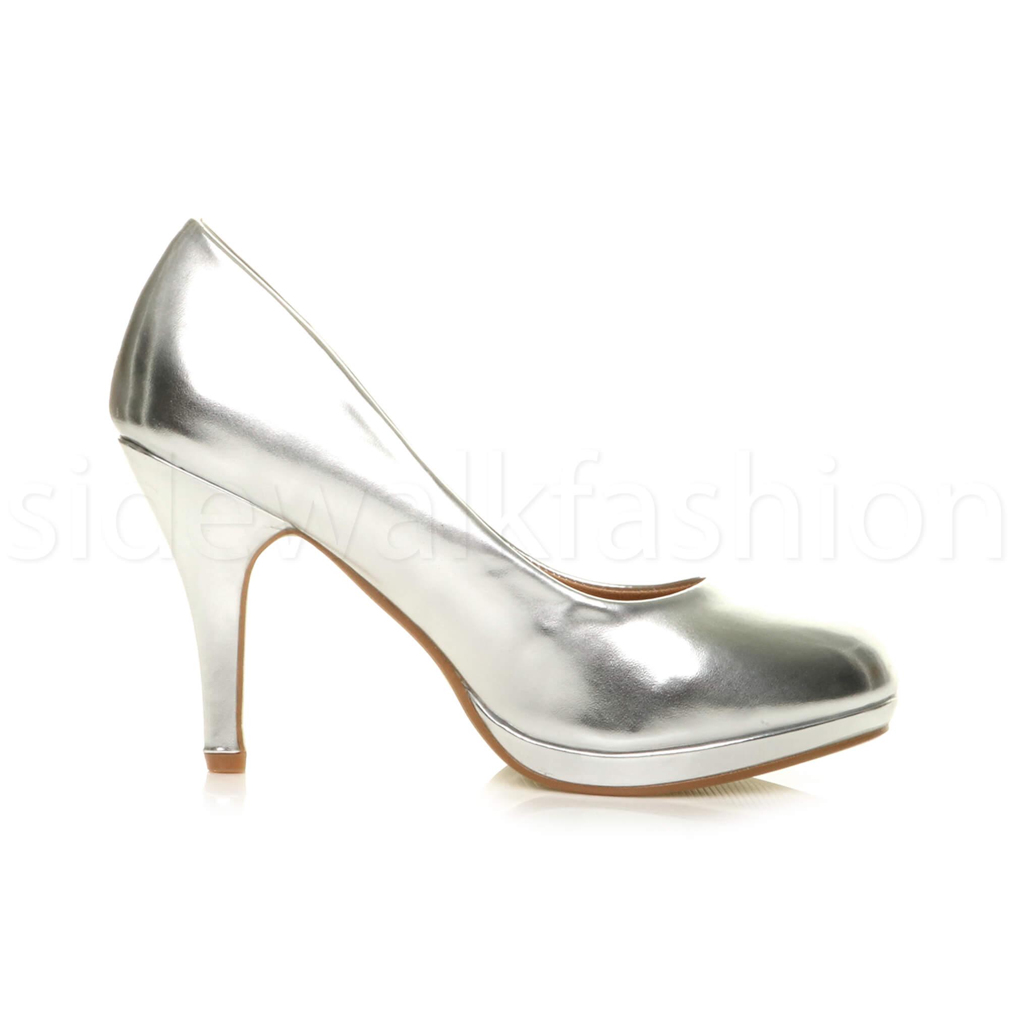 Womens-ladies-high-mid-heel-platform-wedding-evening-bridesmaid-court-shoes-size thumbnail 165