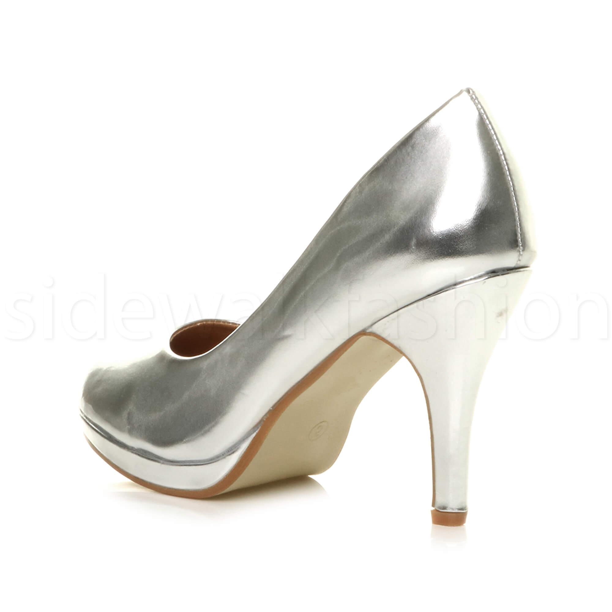 Womens-ladies-high-mid-heel-platform-wedding-evening-bridesmaid-court-shoes-size thumbnail 166
