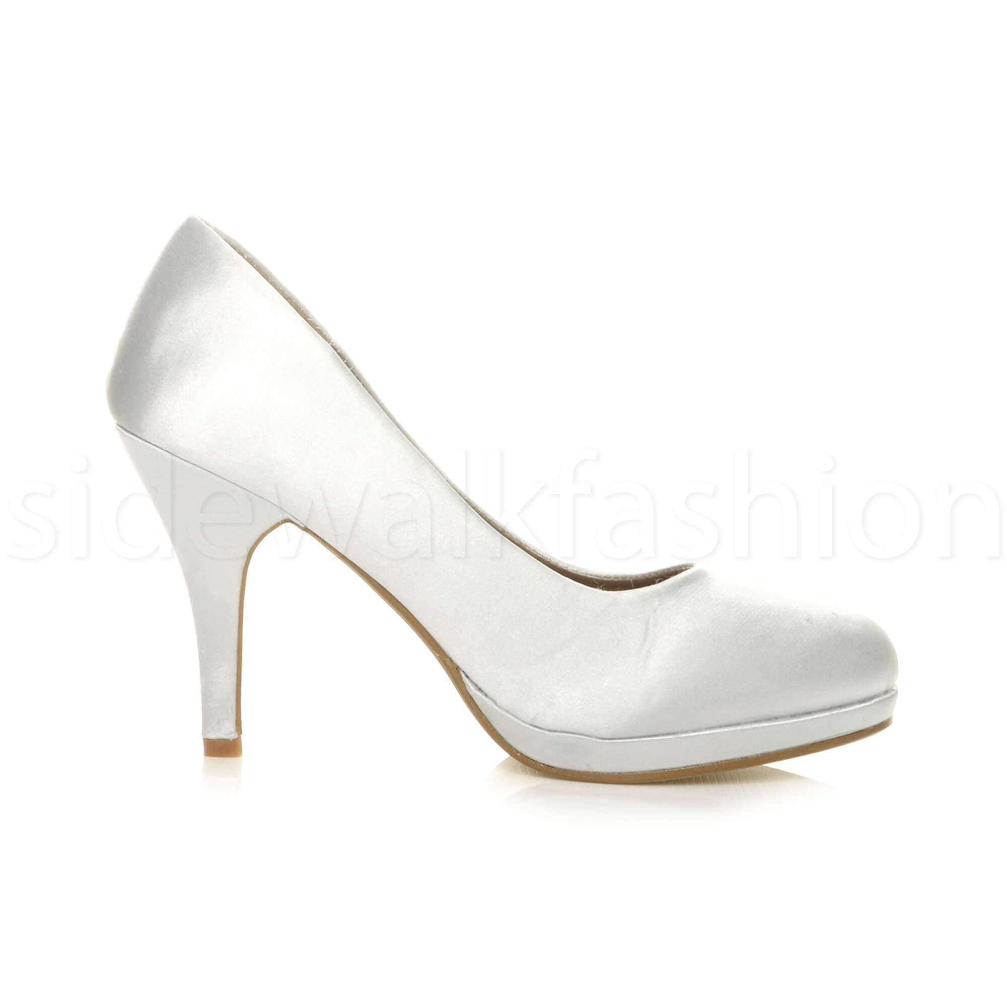 Womens-ladies-high-mid-heel-platform-wedding-evening-bridesmaid-court-shoes-size thumbnail 186