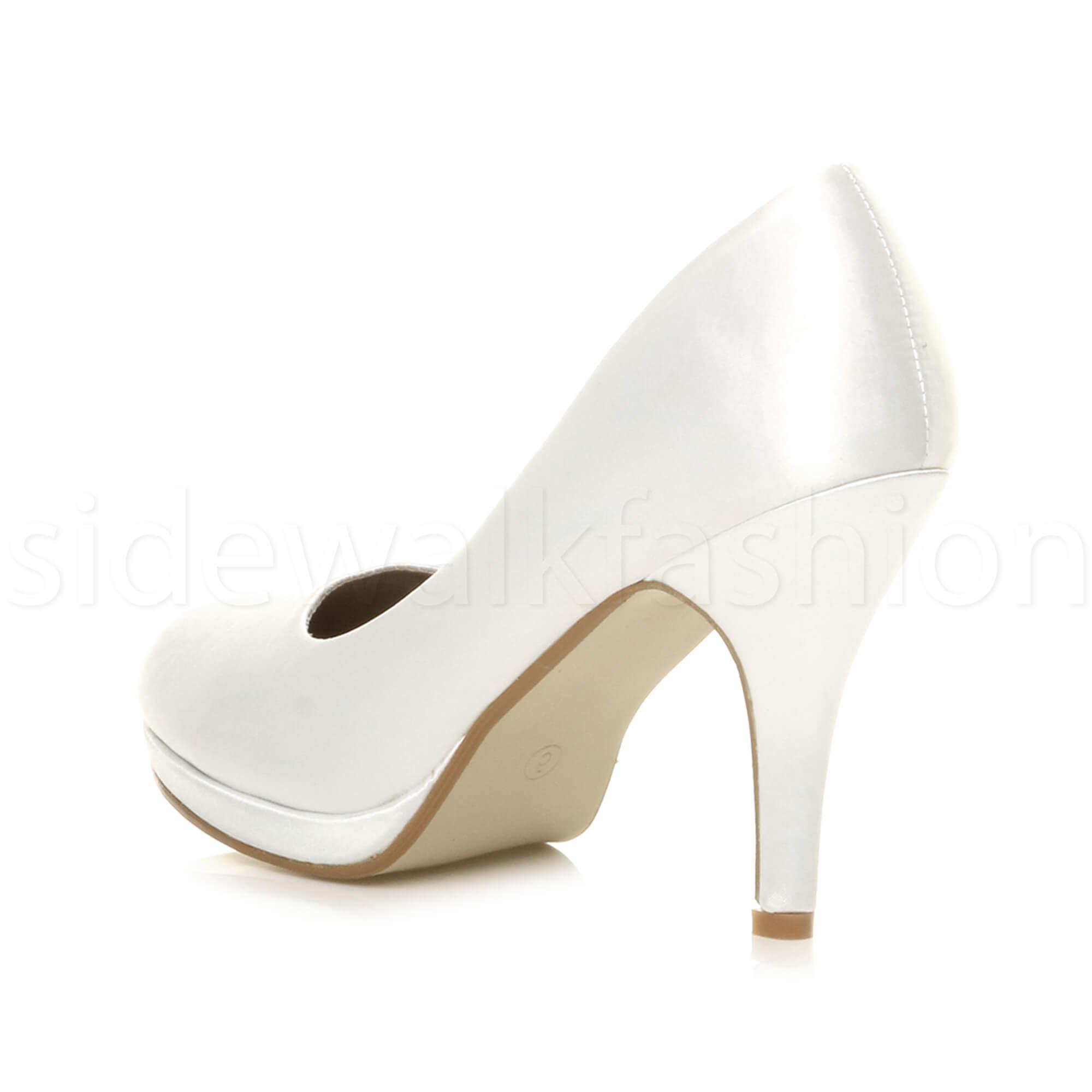 Womens-ladies-high-mid-heel-platform-wedding-evening-bridesmaid-court-shoes-size thumbnail 201
