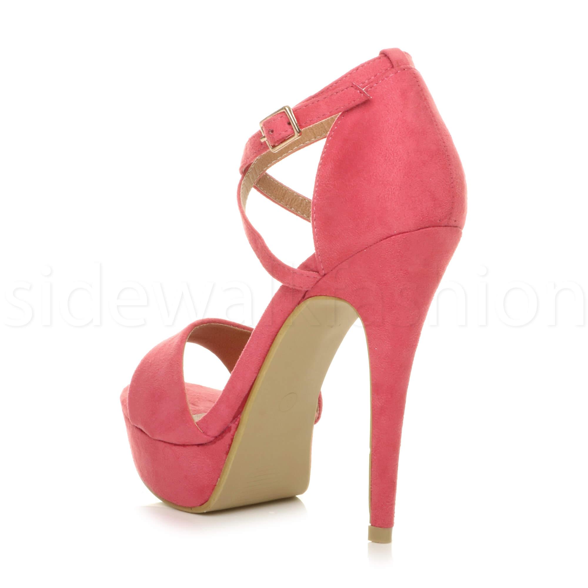 53407a717c09 Womens ladies high heel platform crossed strappy evening prom ...