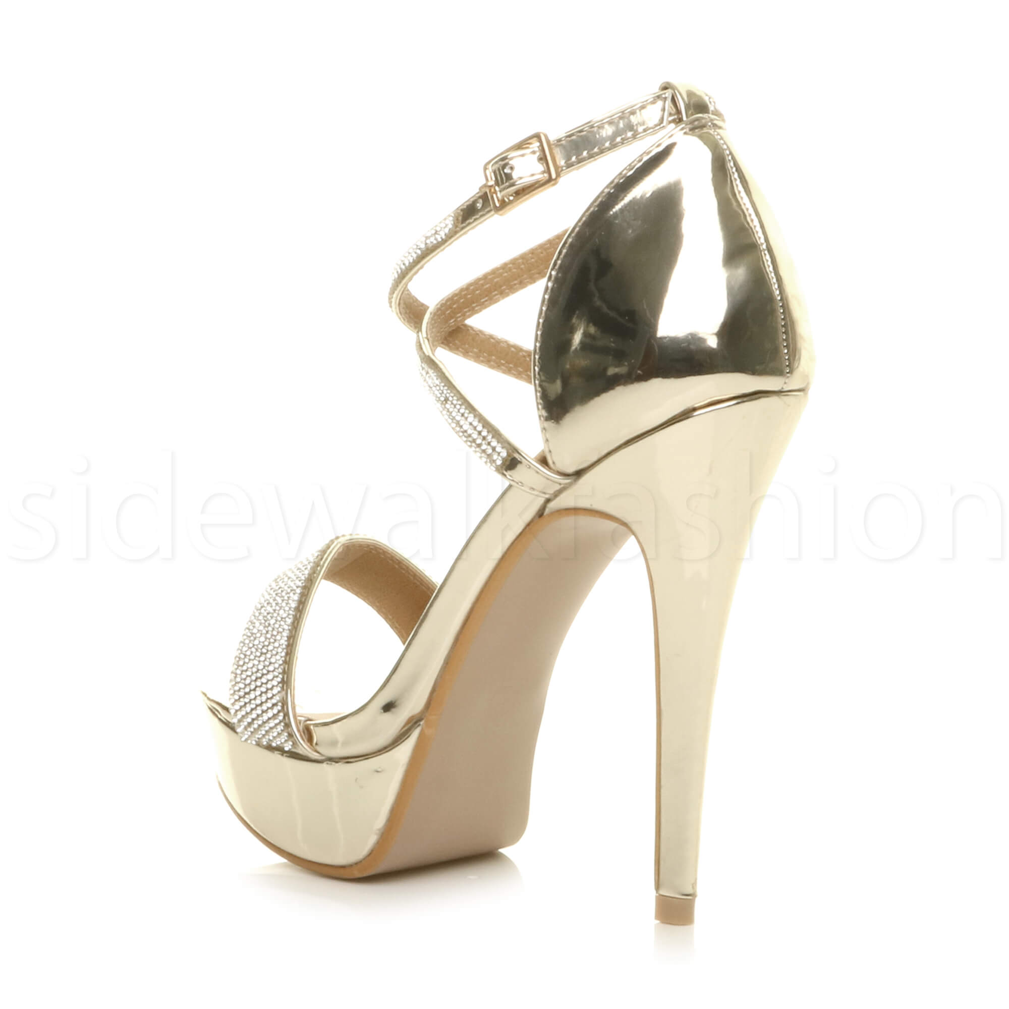 Details about Womens ladies high heel platform crossed strappy evening prom sandals size