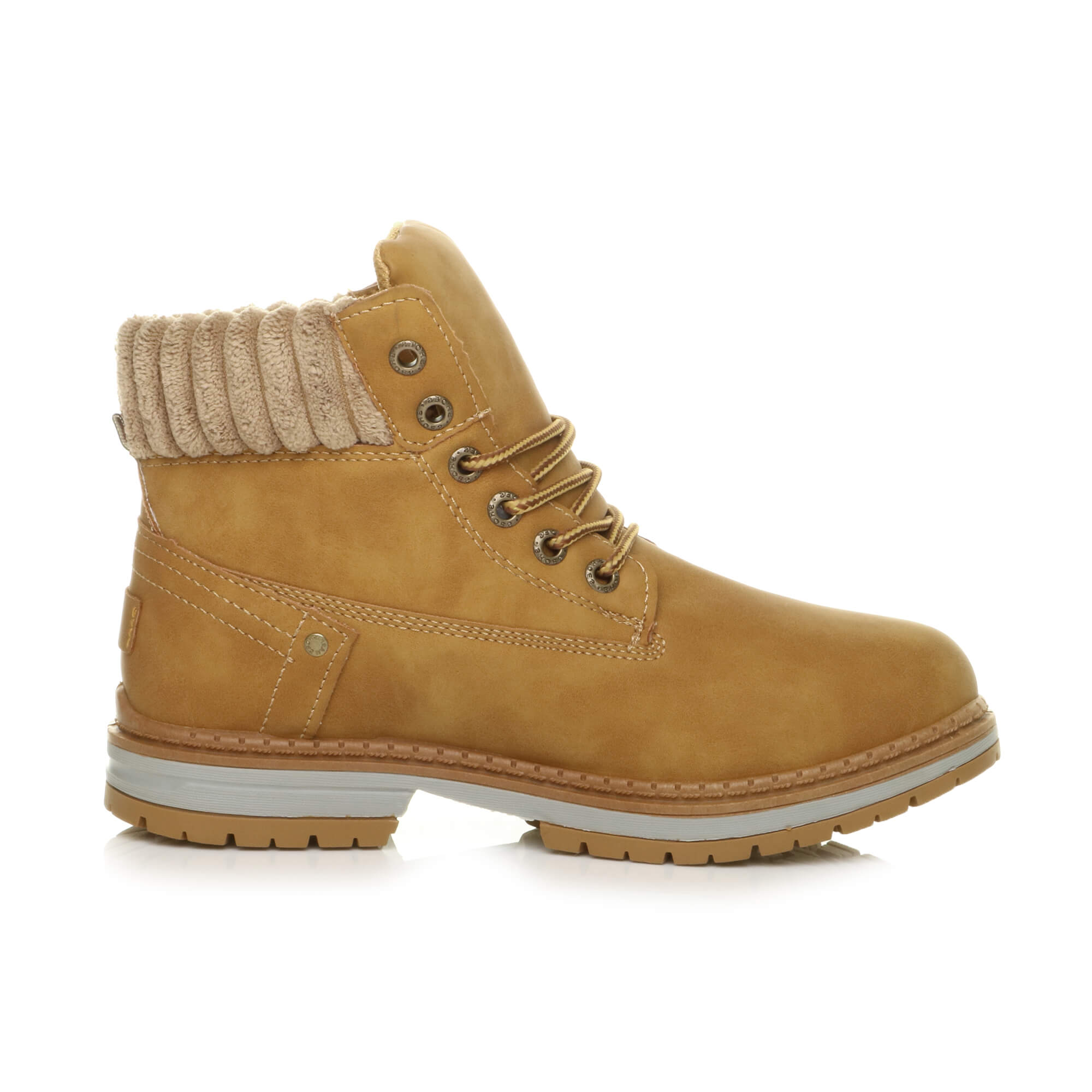 WOMENS-LADIES-FLEECE-COLLAR-WINTER-LACE-UP-WORK-STYLE-BIKER-COMBAT-ANKLE-BOOTS