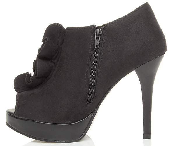 Womens-ladies-high-heel-peep-toe-ruffle-zip-ankle-boot-shoe-booties-size-7-40 thumbnail 4