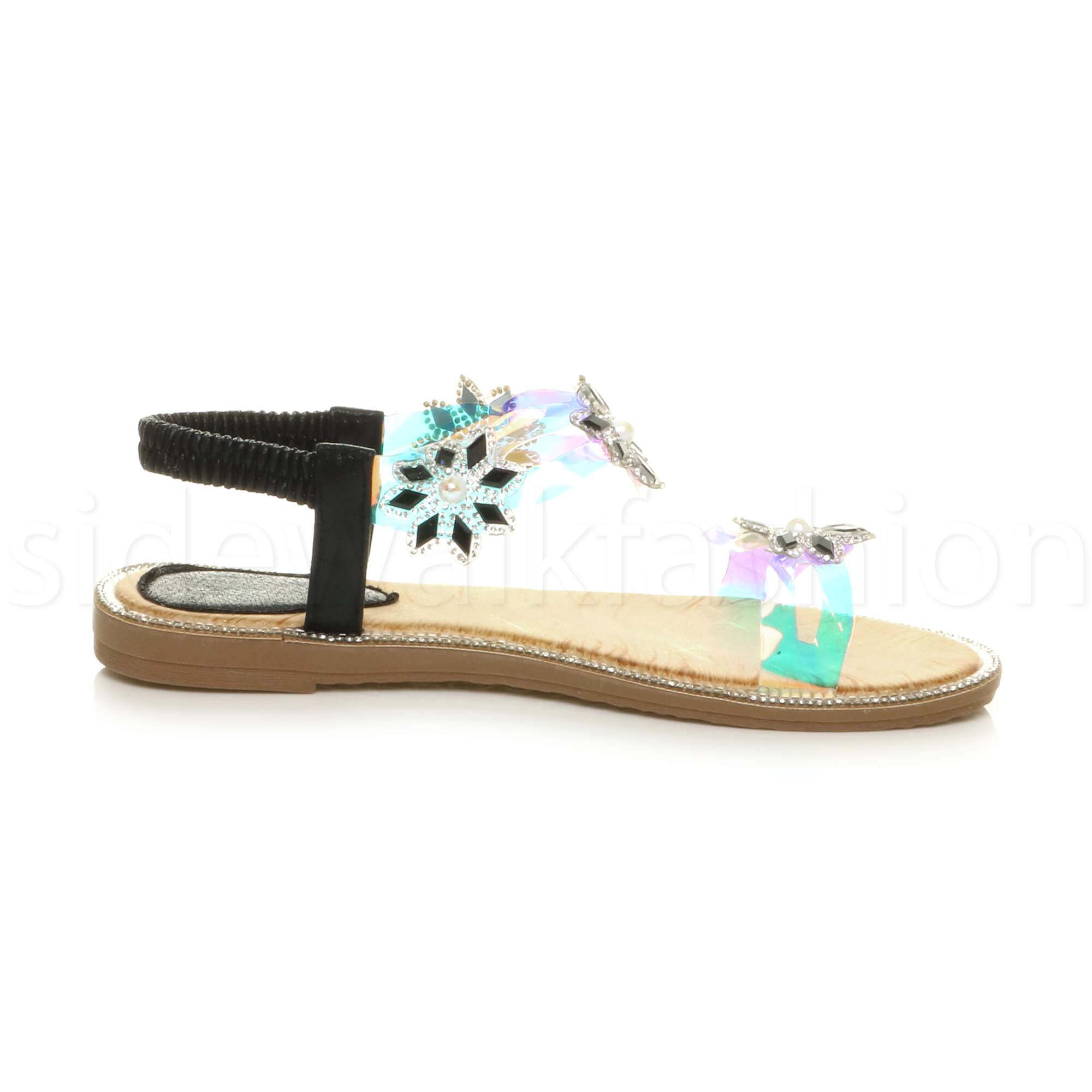 Womens ladies slingback diamante flower clear iridescent T-bar sandals size