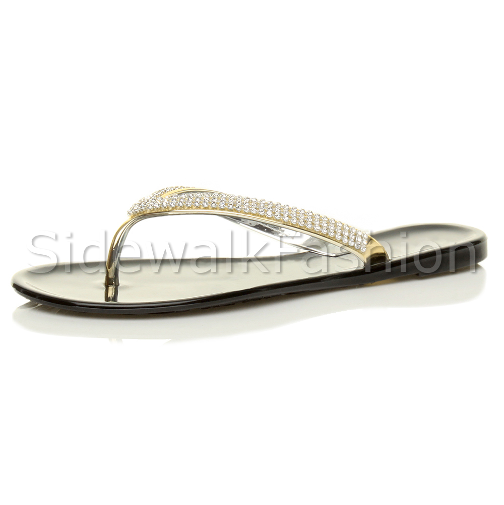 71460ab4215f Womens Ladies Flat Gold Diamante Rubber Jelly Casual Flip Flops Sandals  Size UK 3   EU 36   US 5 Black. About this product. Picture 1 of 8  Picture  2 of 8 ...