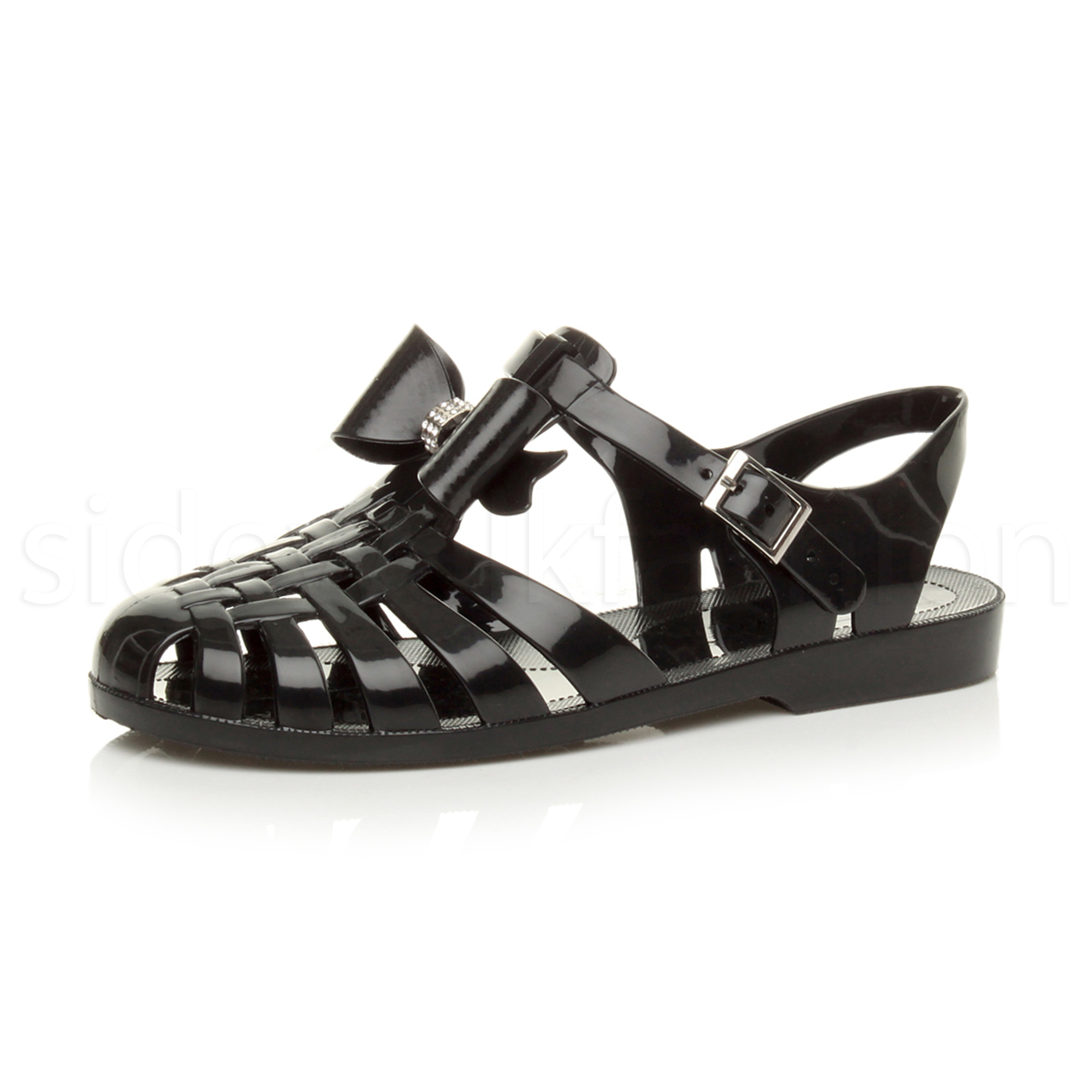 8181f97c71792 Womens Girls Kids Flat Bow Gladiator Strappy Jelly Summer Sandals Shoes Size  UK 6   EU 39   US 8 Black. About this product. Picture 1 of 9  Picture 2 of  9 ...
