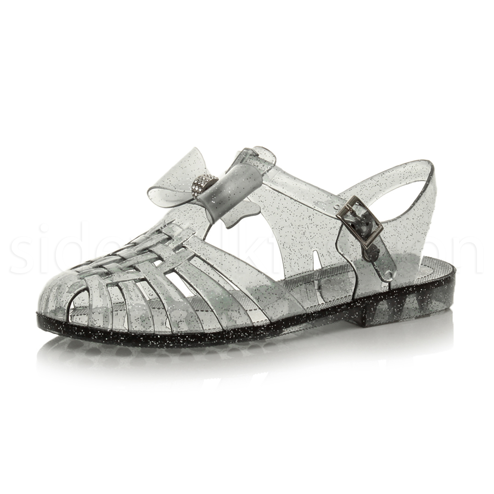 6eb6af68354ee Womens Girls Kids Flat Bow Gladiator Strappy Jelly Summer Sandals Shoes Size  UK 7   EU 40   US 9 Smoke Glitter. About this product. Picture 1 of 9   Picture ...