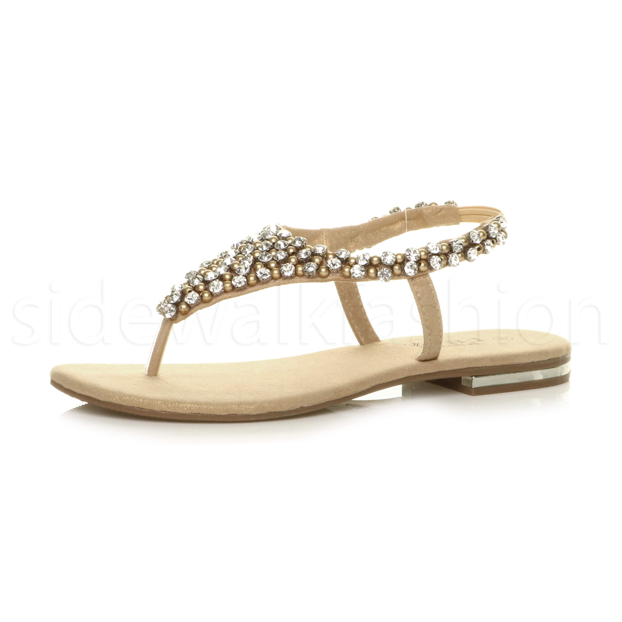9a6efa0b15a2a7 Womens ladies flat toe post t-bar diamante beaded slingback sparkly sandals  size