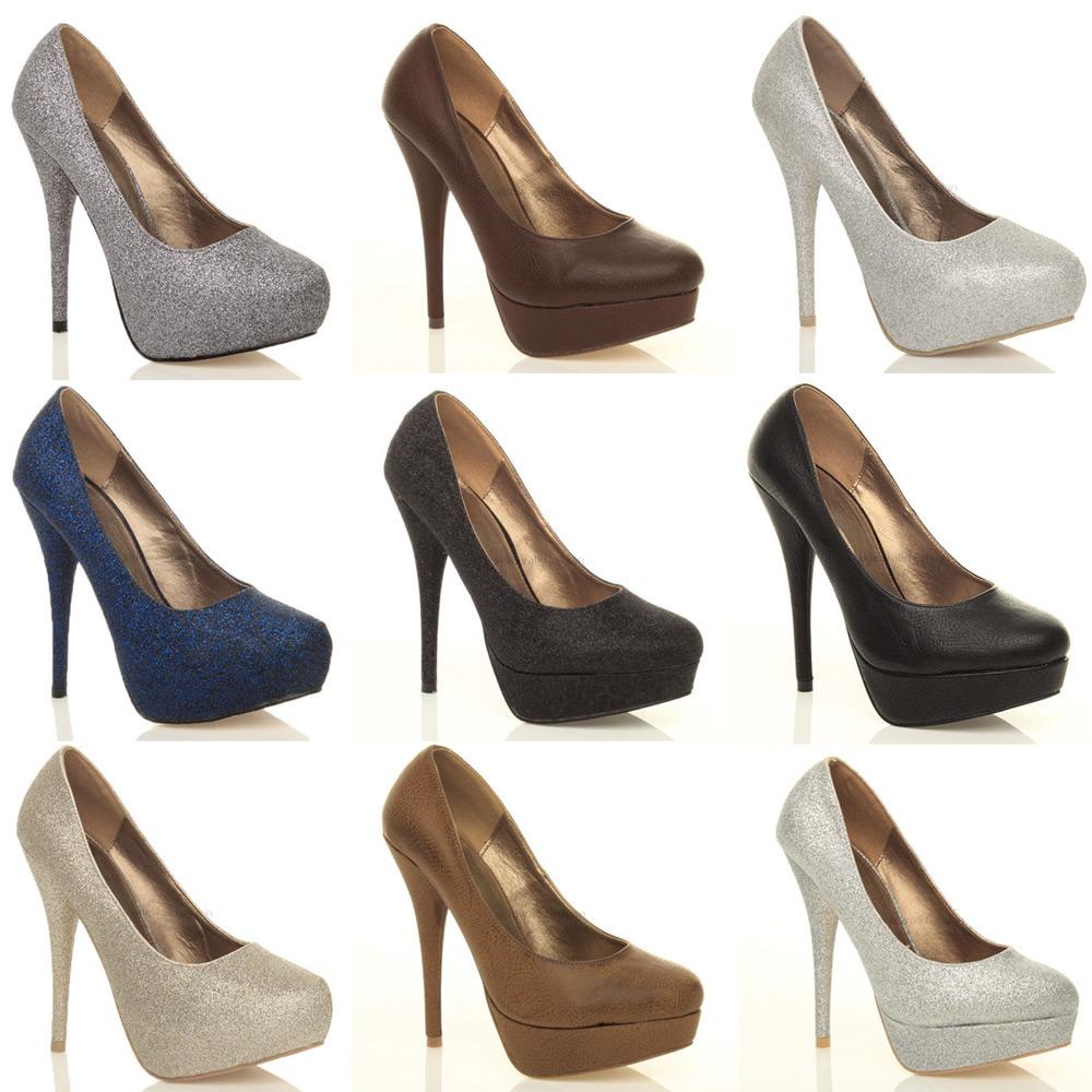 Womens ladies party prom wedding platform pumps high heels ...
