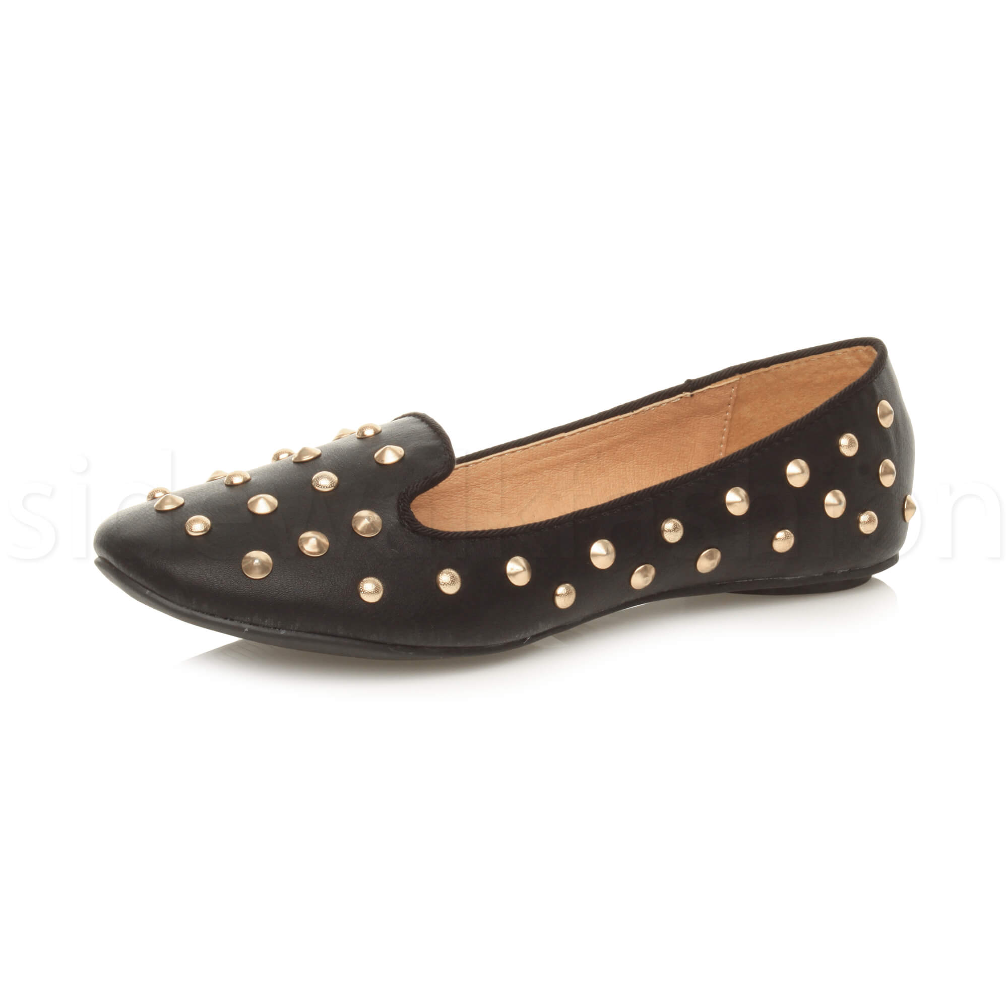 bb886ba8bbd7 Womens ladies studded punk goth loafers ballet flats slip on dolly shoes  size