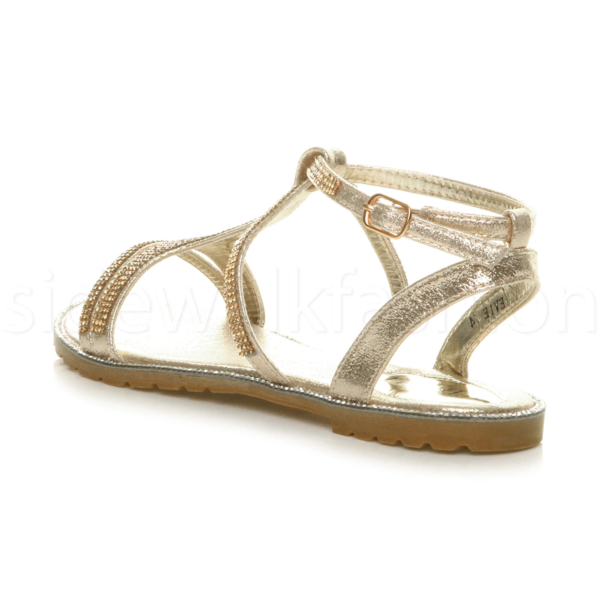 483447ff7 Womens ladies flat embellished diamante sparkly strappy t-bar ...
