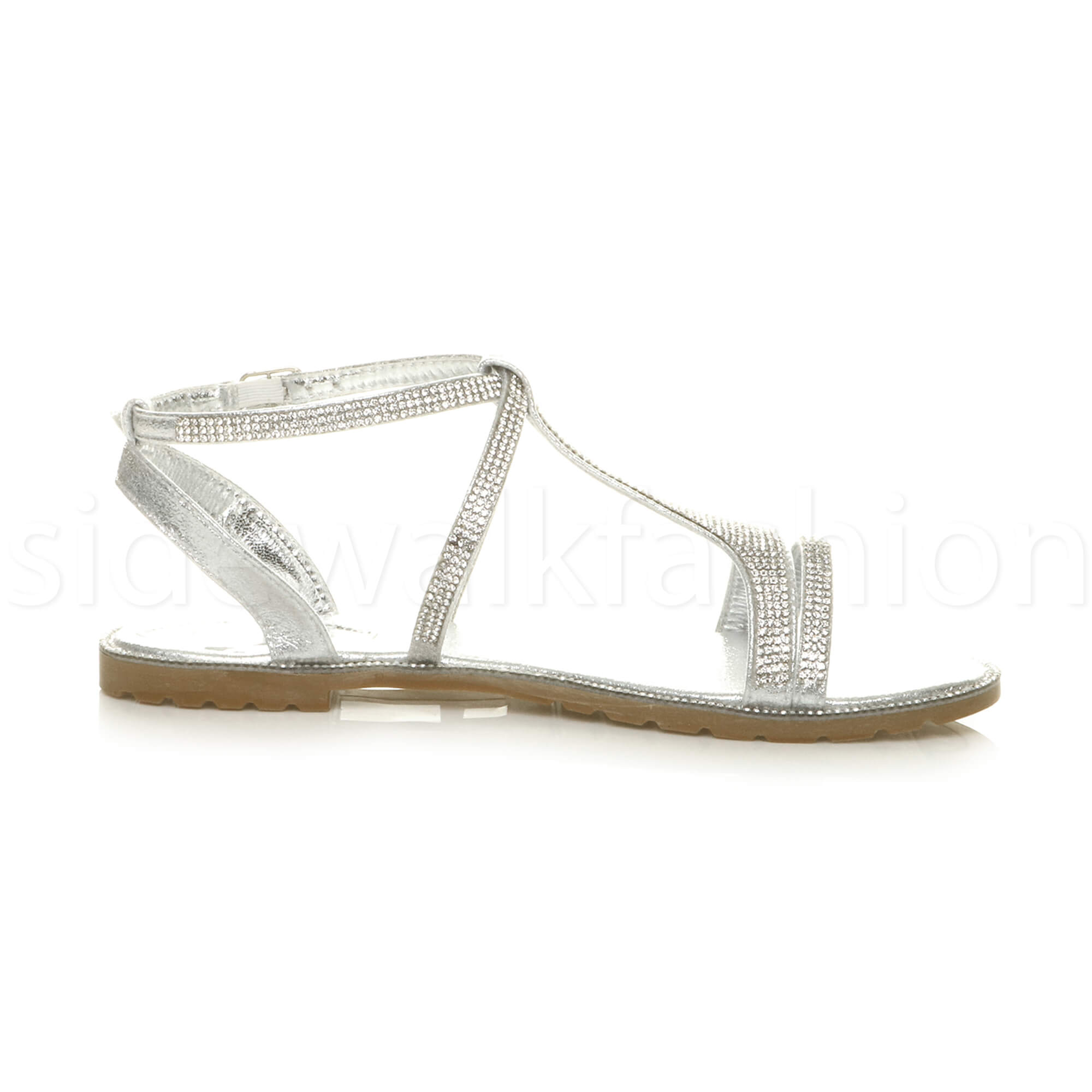 92e875887c0ee6 Womens Ladies Flat Strappy Summer T-bar Sparkly Diamante Evening ...