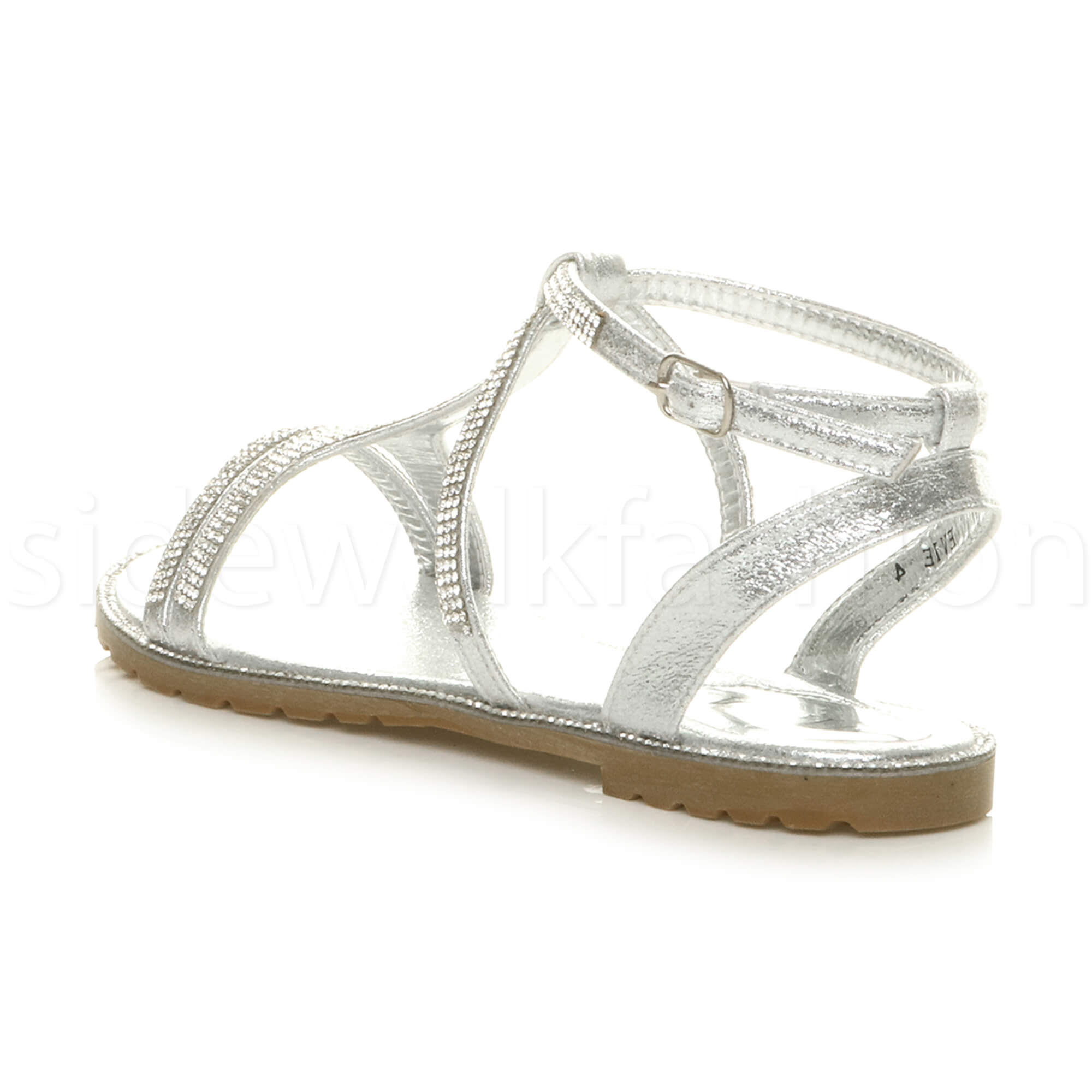 e7d30aab5ce3 Womens ladies flat embellished diamante sparkly strappy t-bar ...