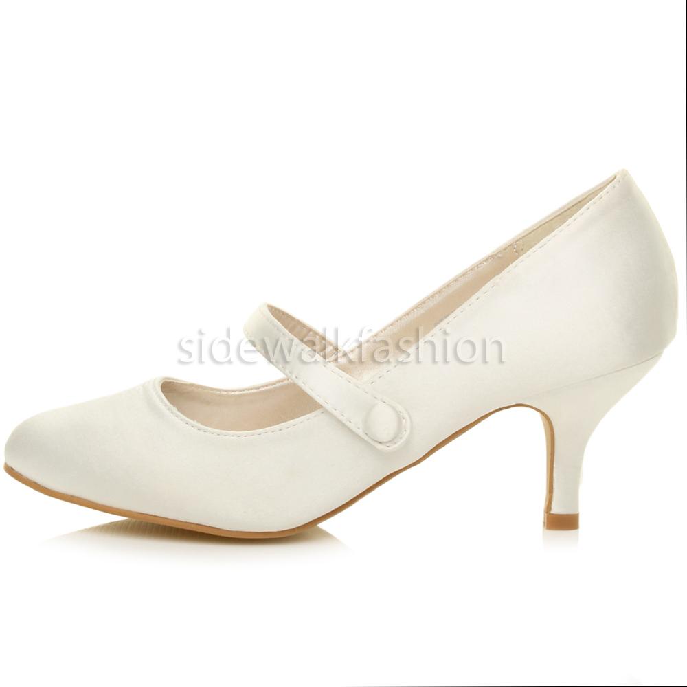 Womens Mid Low Kitten Heel Mary Jane Style Wedding Bridal